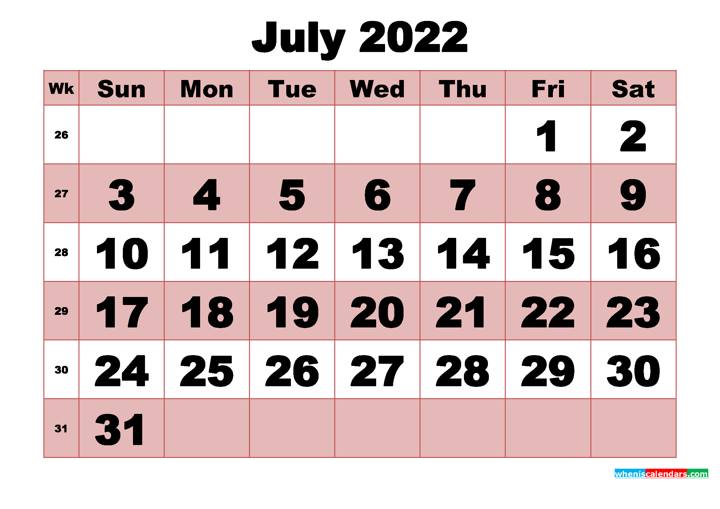 Free Printable Monthly Calendar July 2022