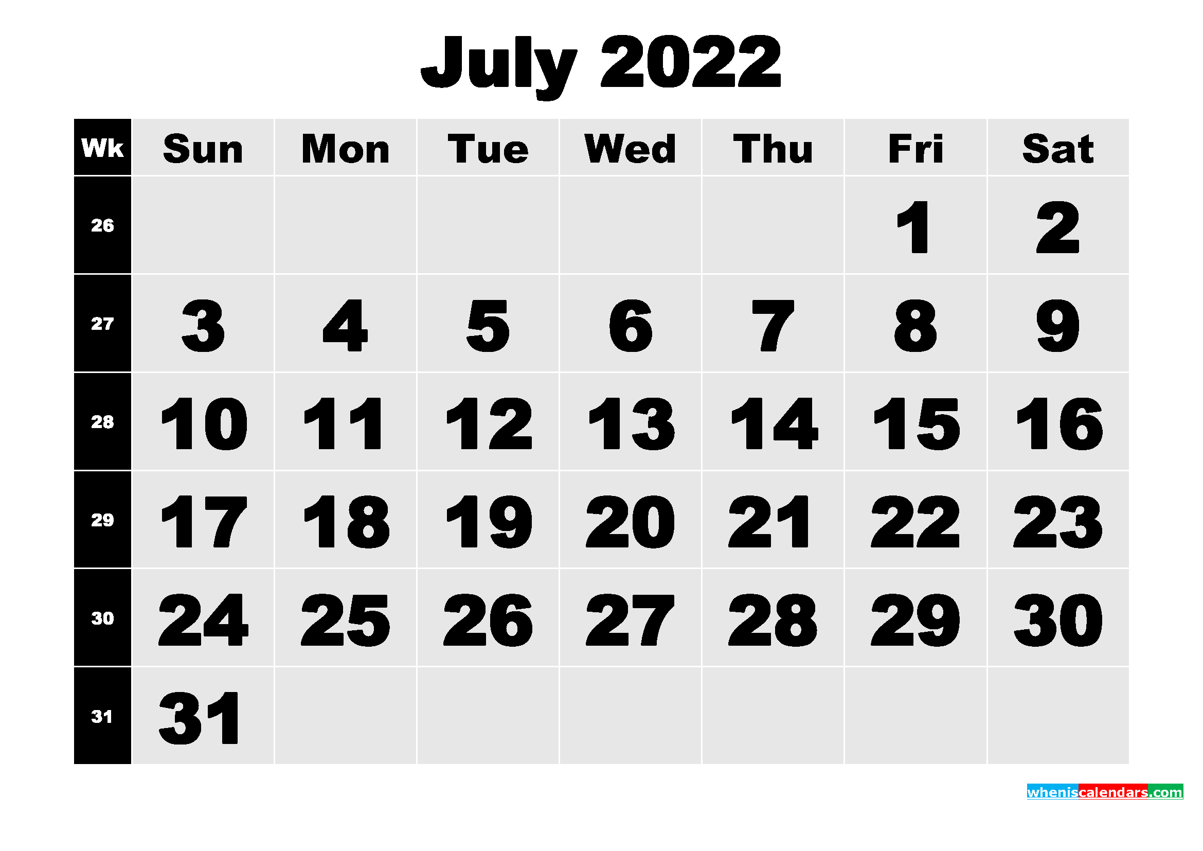 Free Printable July 2022 Calendar Template Word, PDF