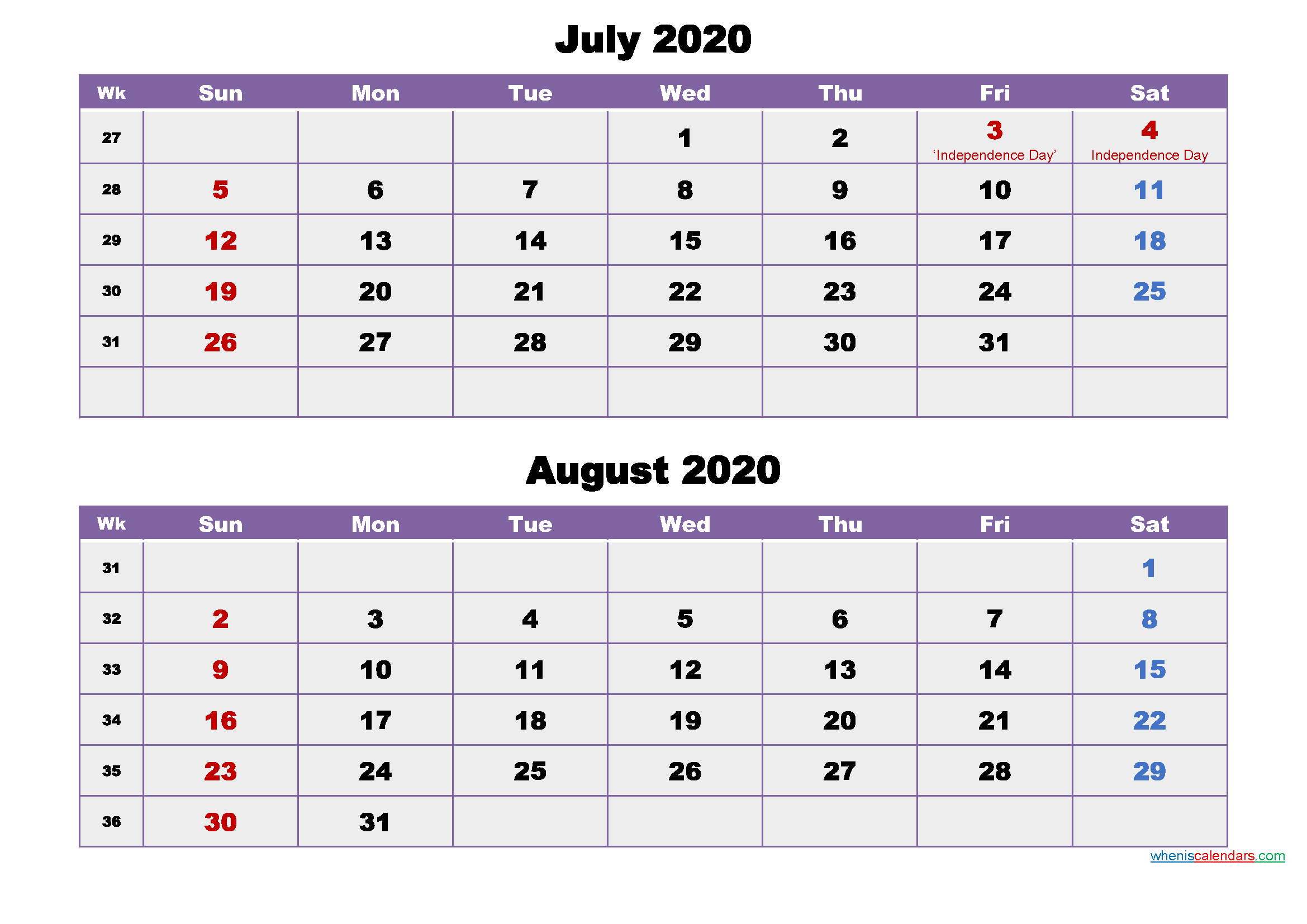 July and August Calendar 2020 Printable Word, PDF