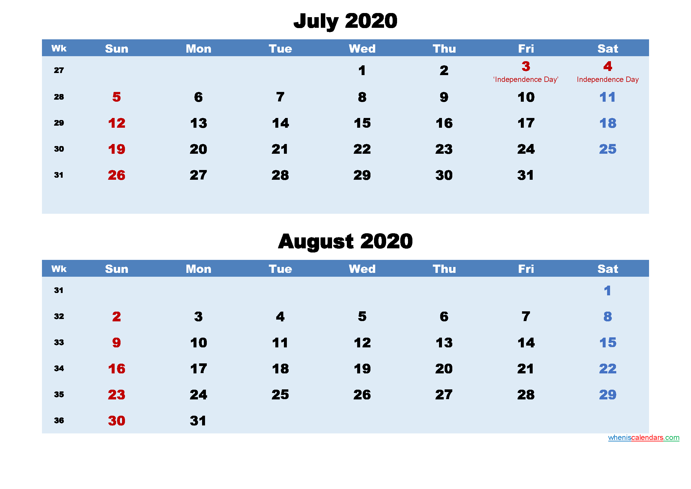 Printable Calendar July and August 2020 Word, PDF