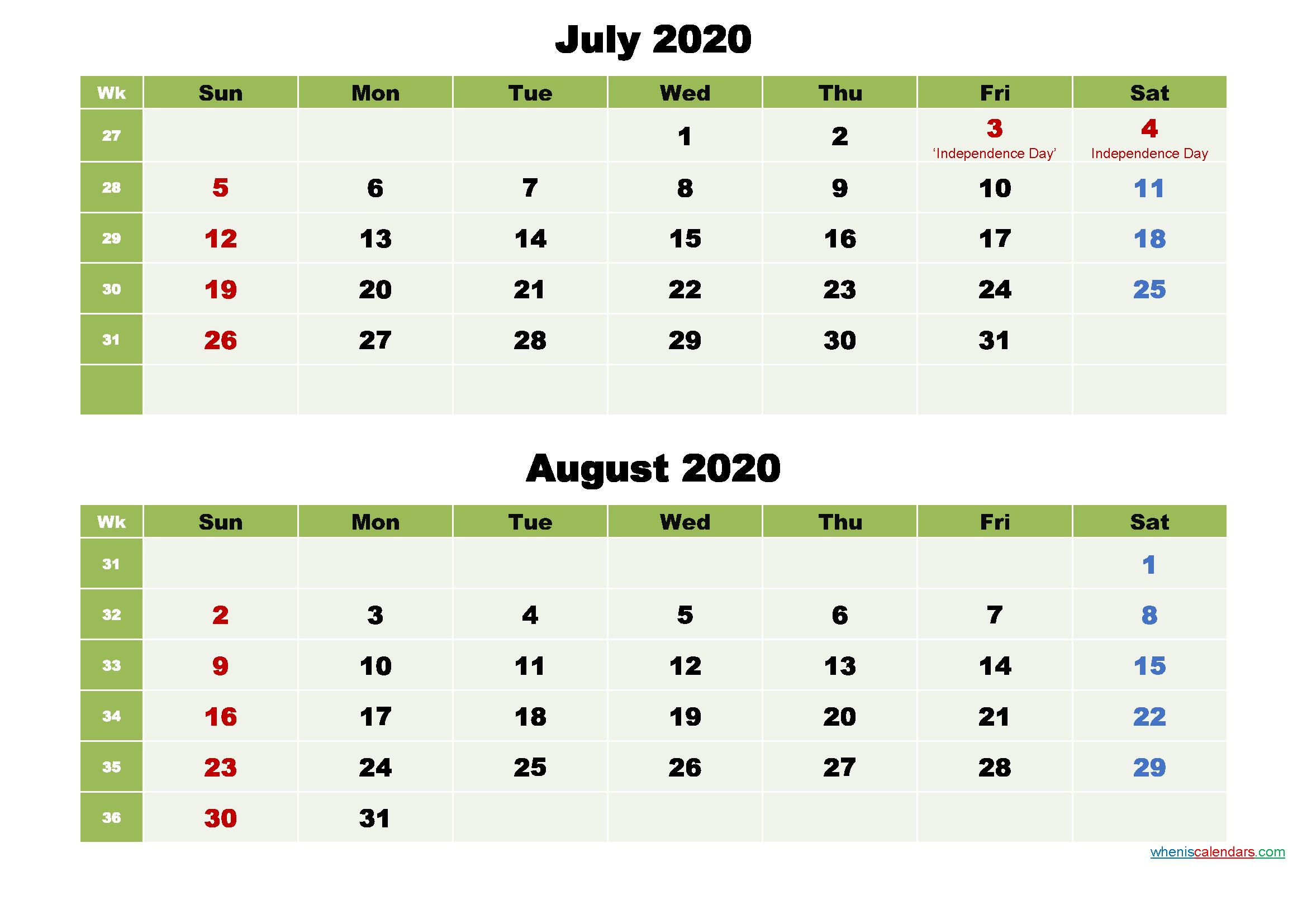 Printable Calendar July and August 2020 Word, PDF