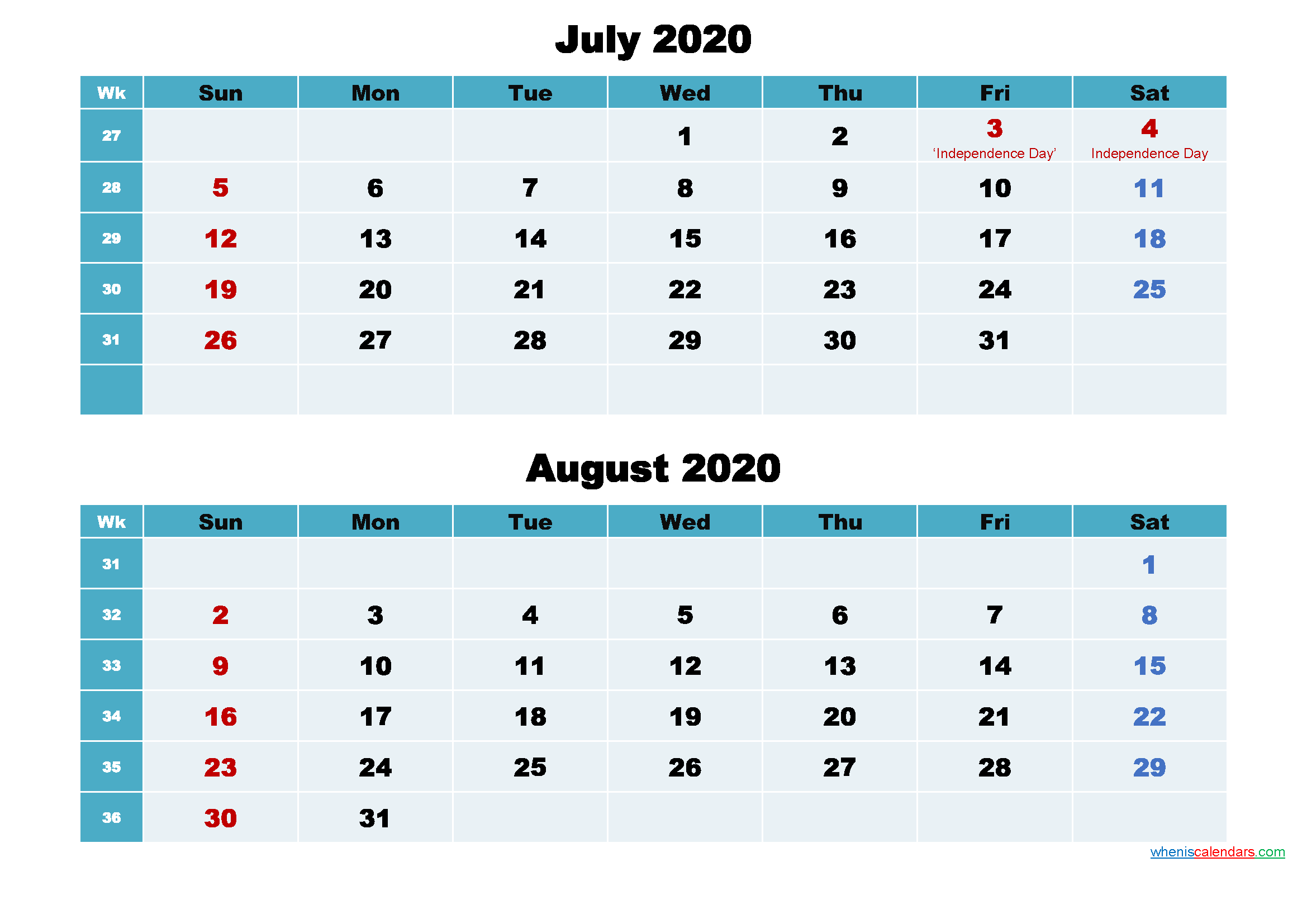 July and August 2020 Calendar with Holidays