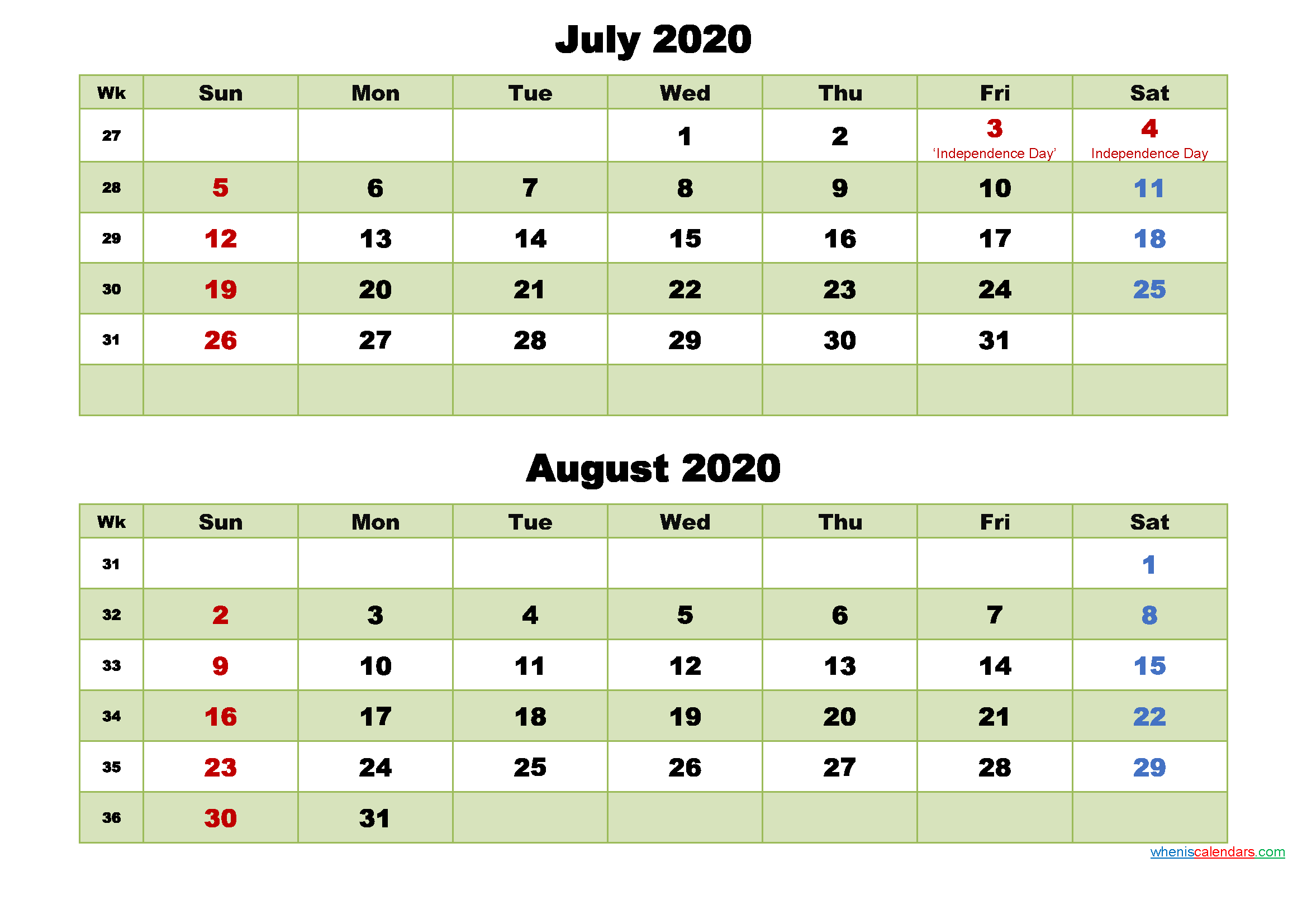 July and August 2020 Calendar with Holidays - Free ...
