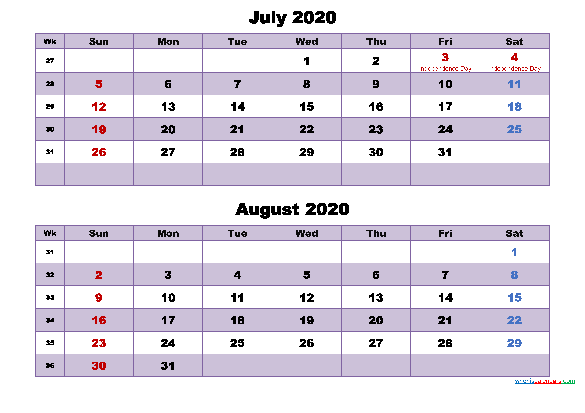 Calendar for July and August 2020 Word, PDF
