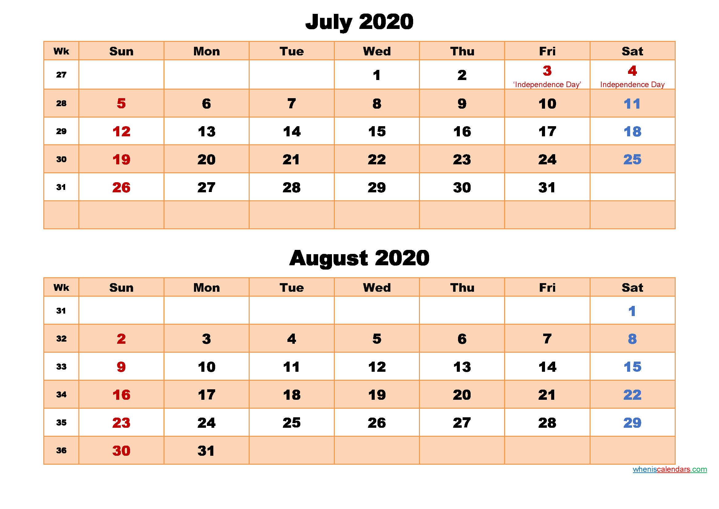 July and August Calendar 2020 Printable Word, PDF