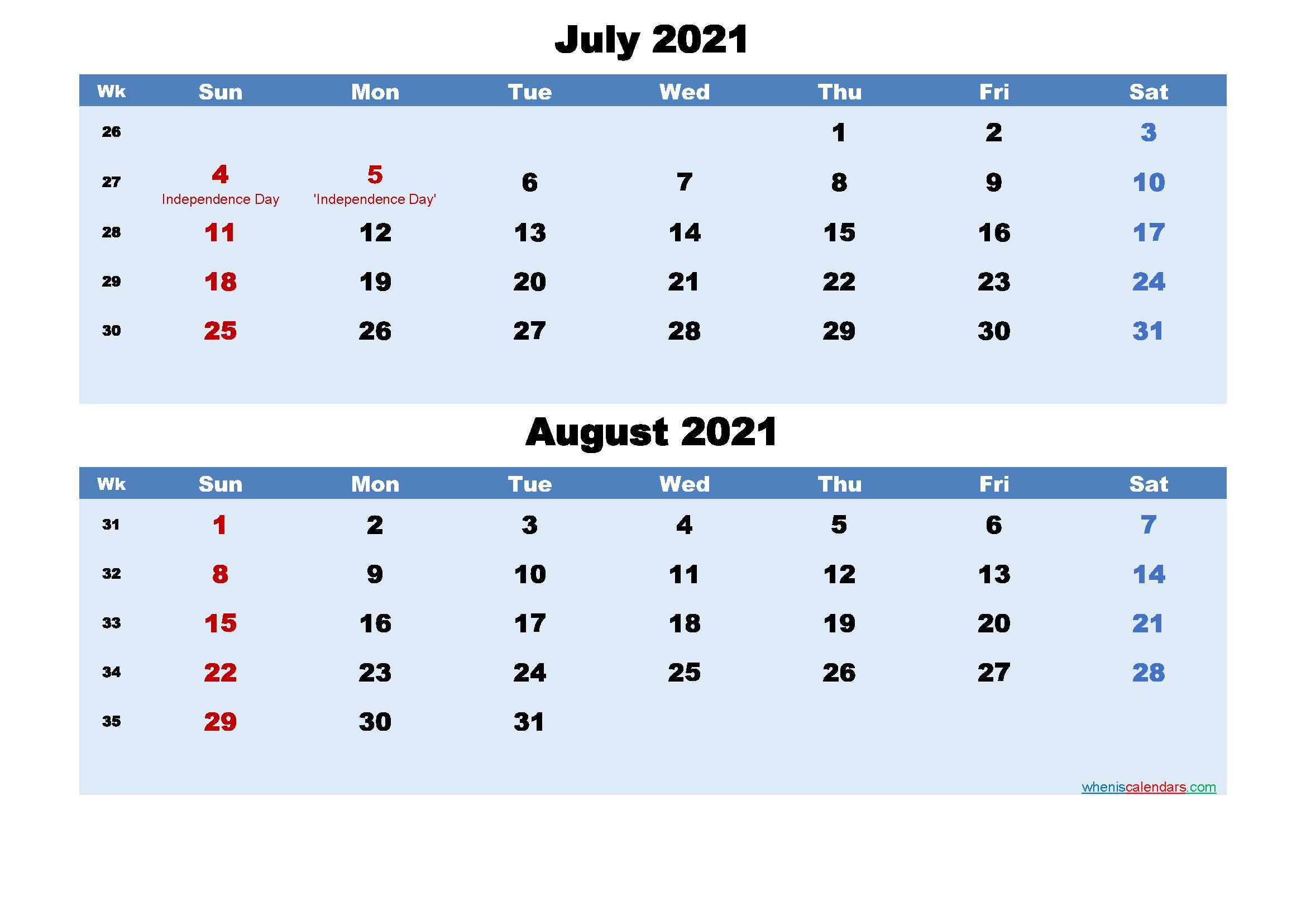 Printable Calendar July and August 2021 Word, PDF