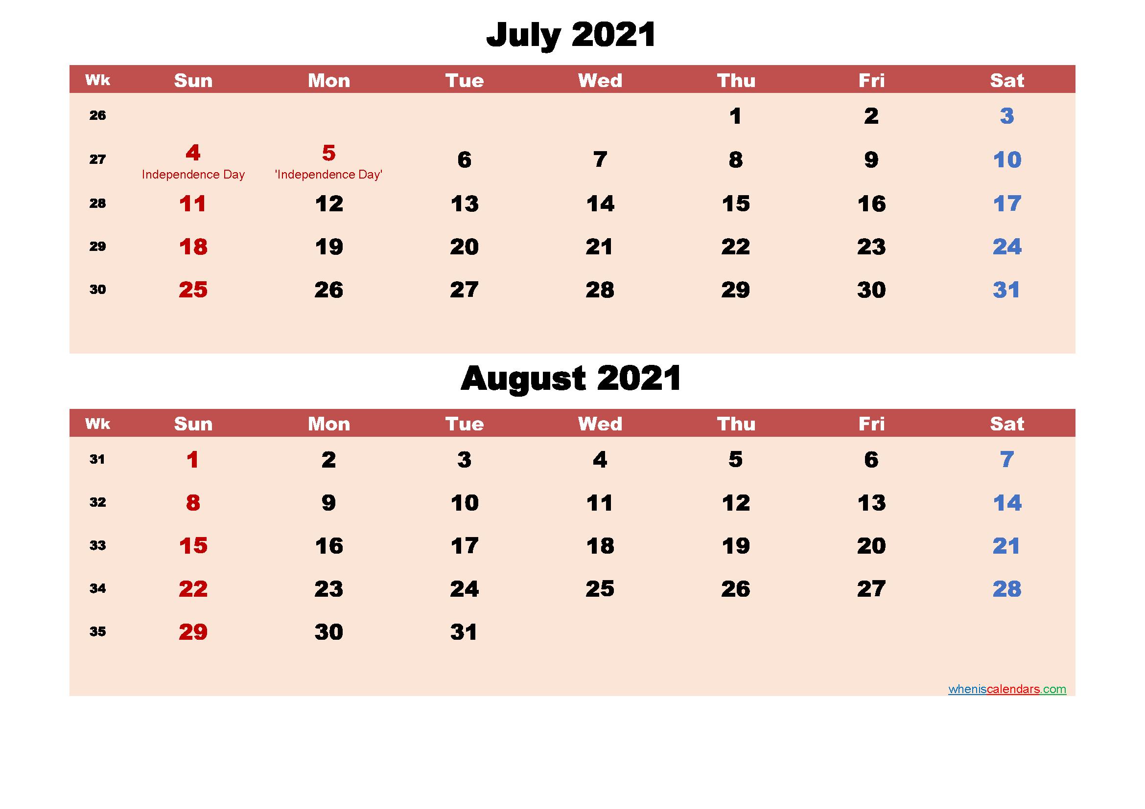July and August Calendar 2021 Printable Word, PDF