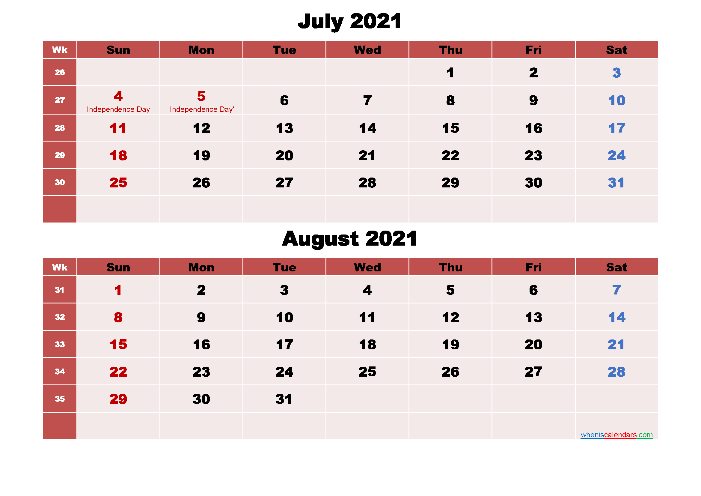 Calendar for July and August 2021 Word, PDF