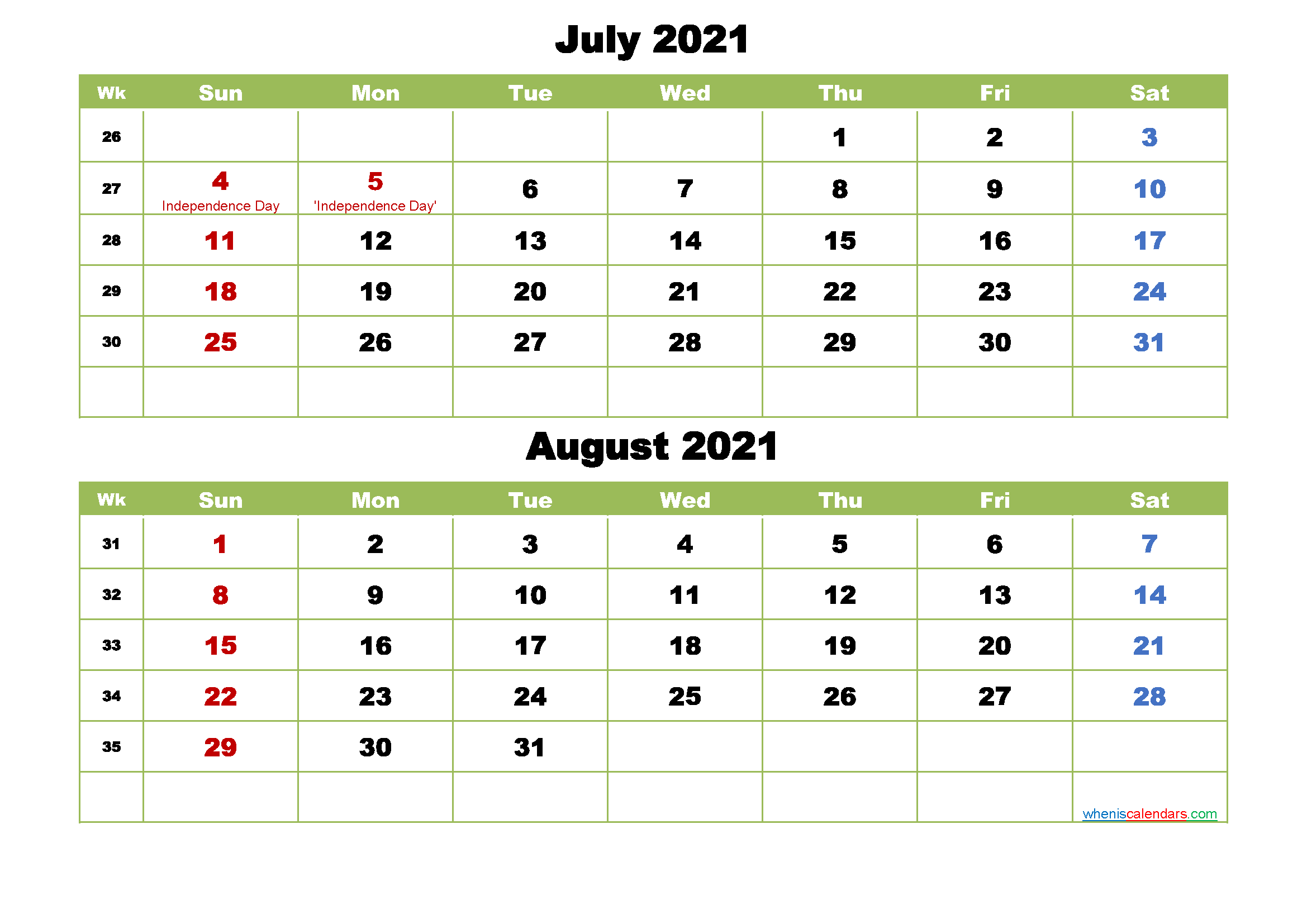 July and August 2021 Calendar with Holidays – Free Printable 2020