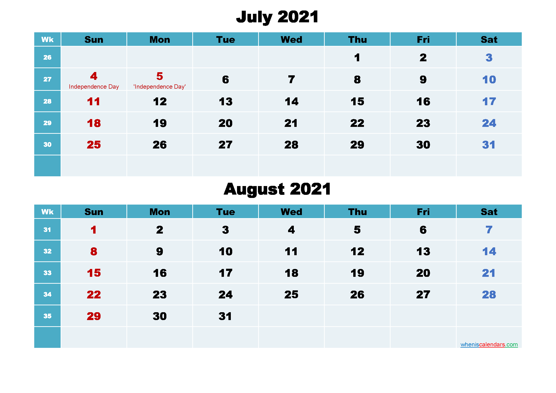 July and August 2021 Calendar with Holidays