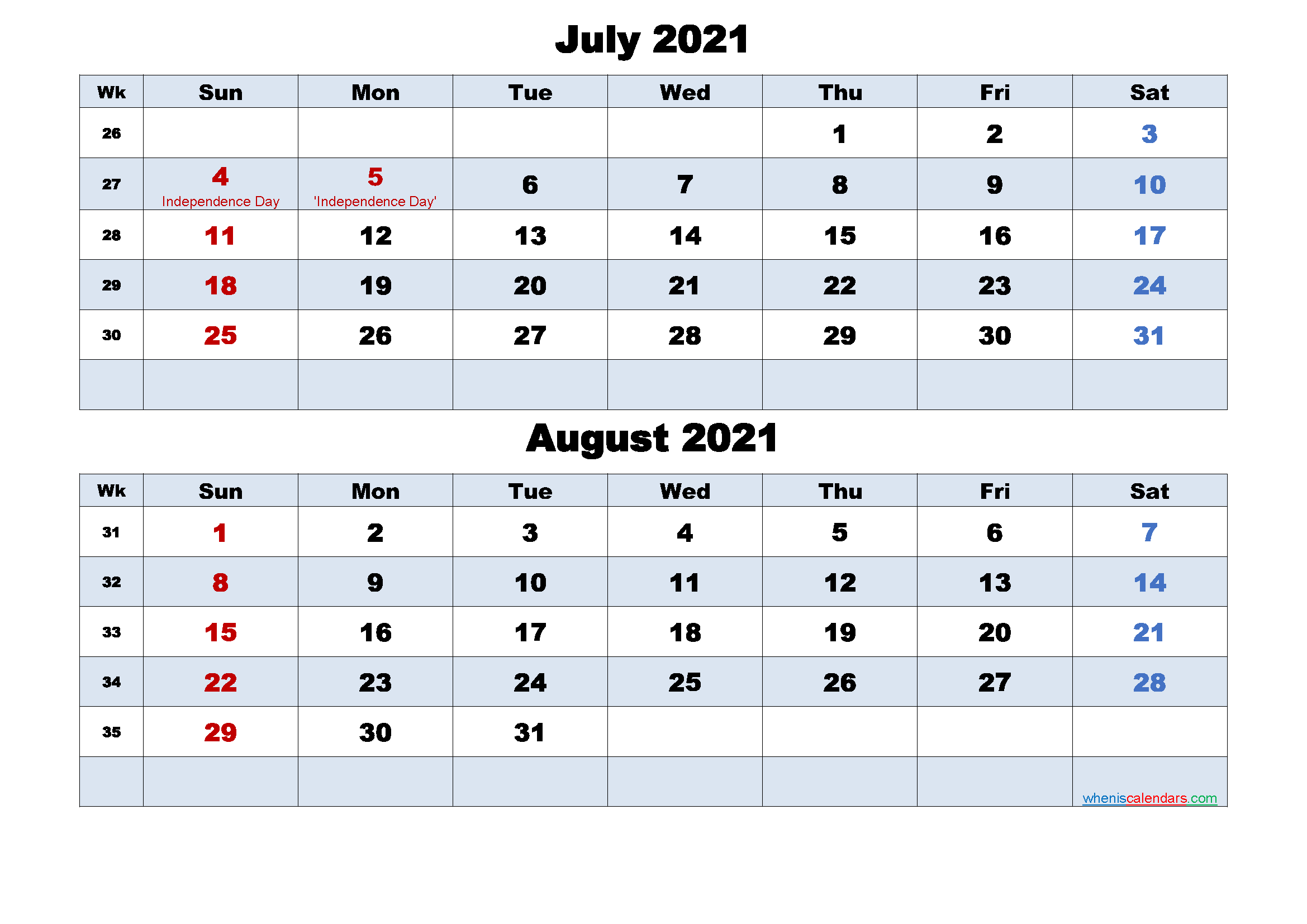 Printable Calendar July and August 2021 Word, PDF
