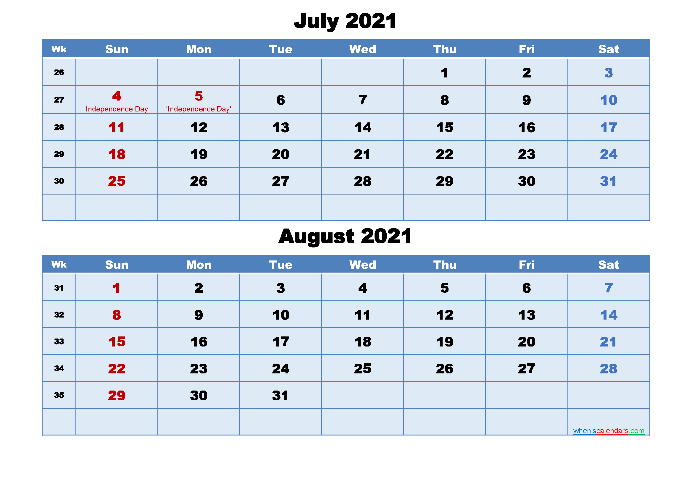July and August 2021 Calendar with Holidays - Free ...