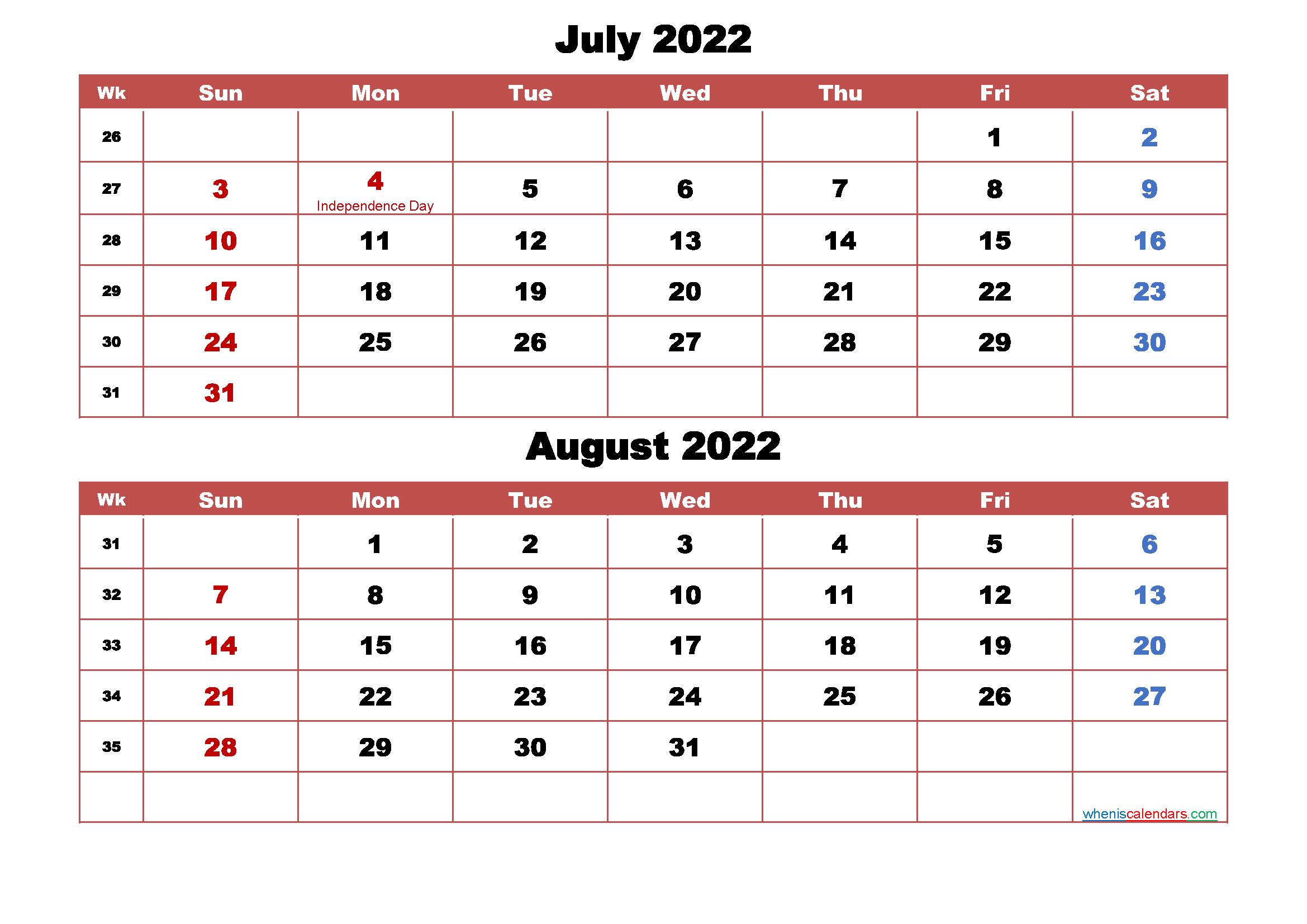 July and August Calendar 2022 Printable Word, PDF