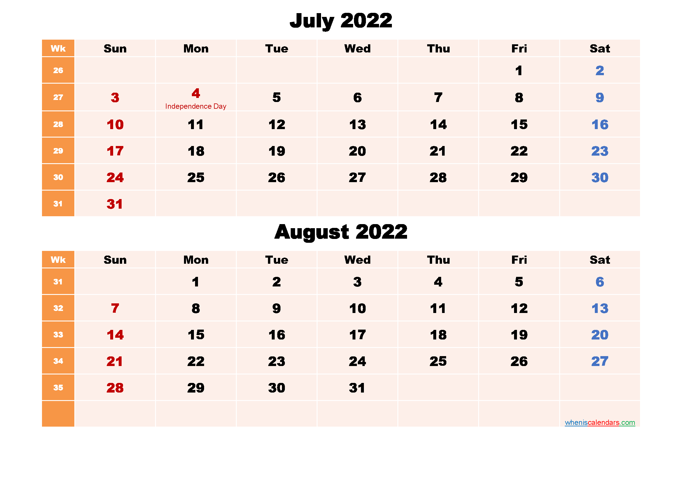Printable Calendar July and August 2022 Word, PDF