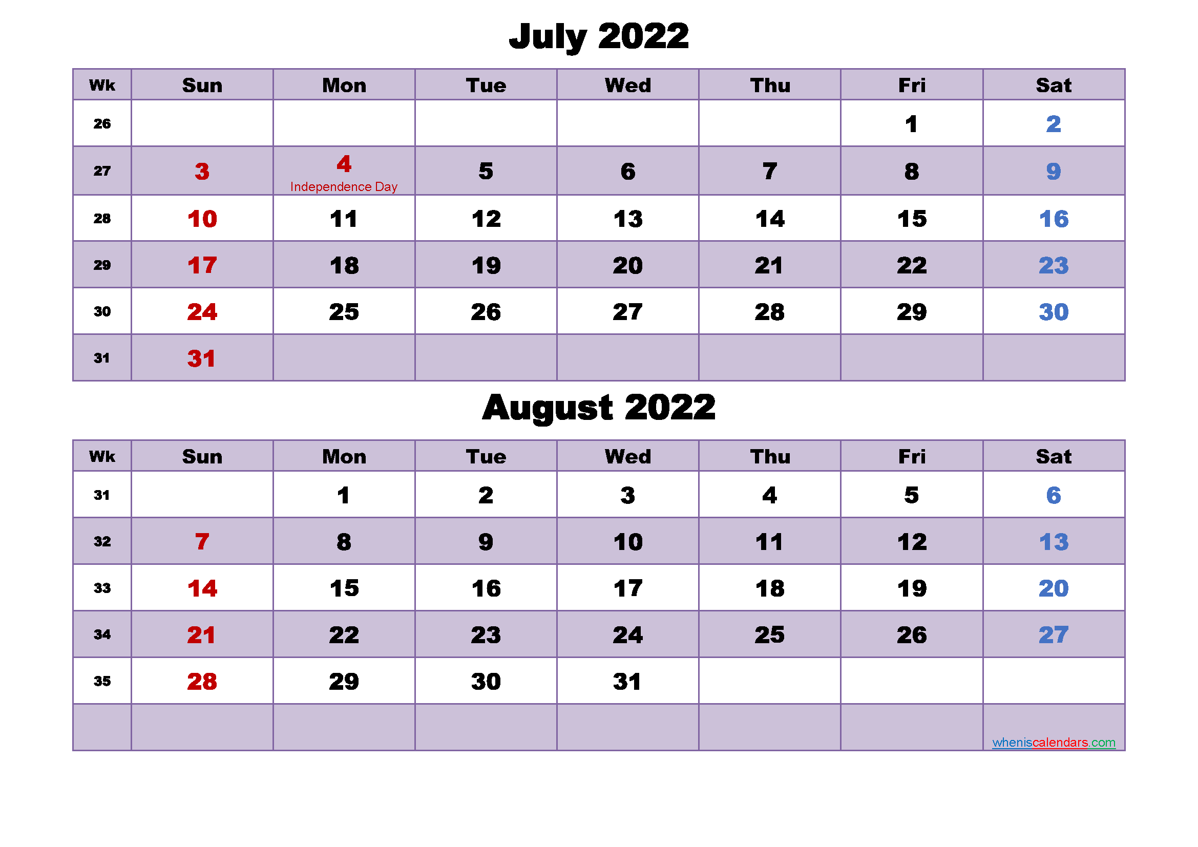 Calendar for July and August 2022 Word, PDF