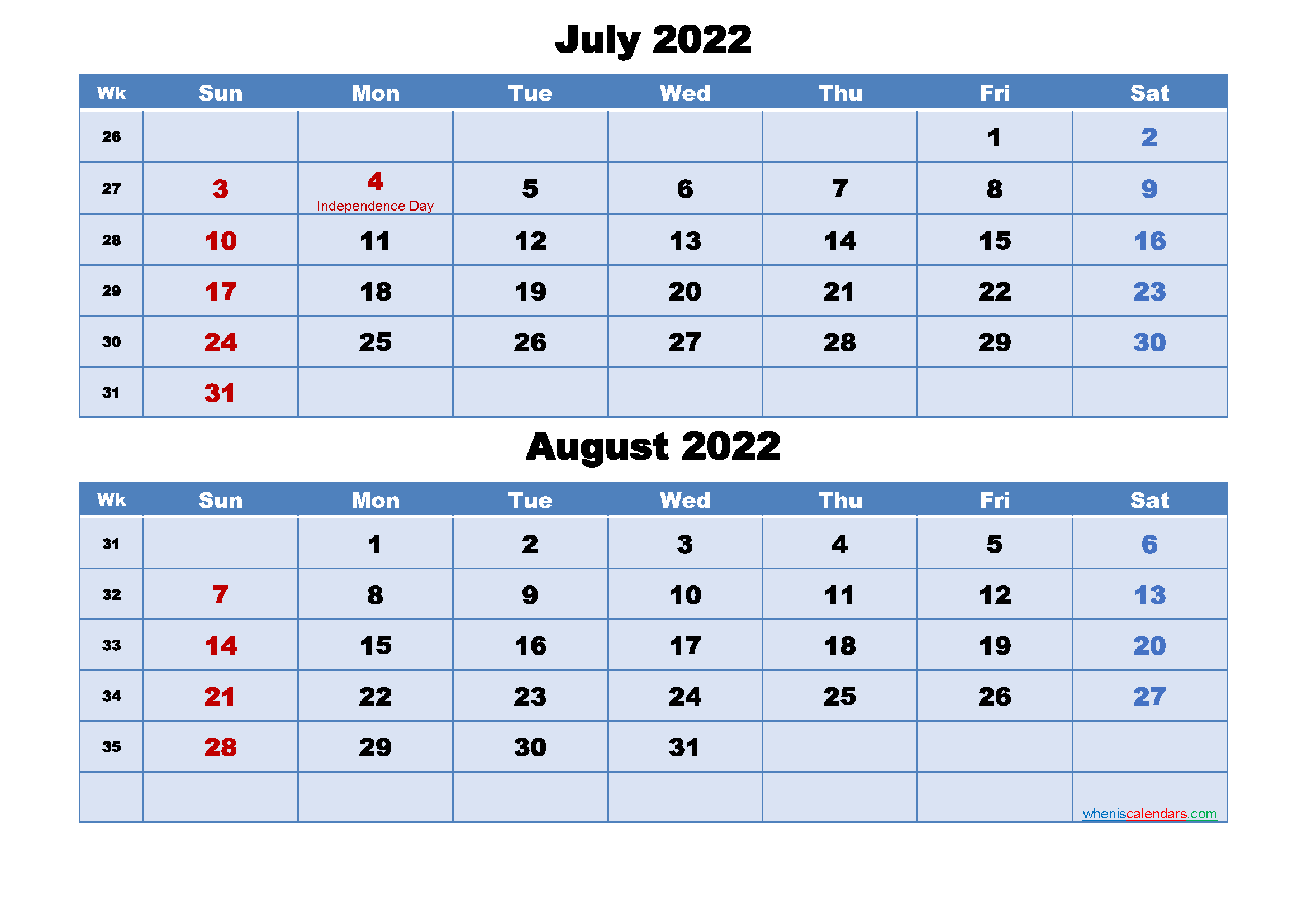 July and August 2022 Calendar with Holidays