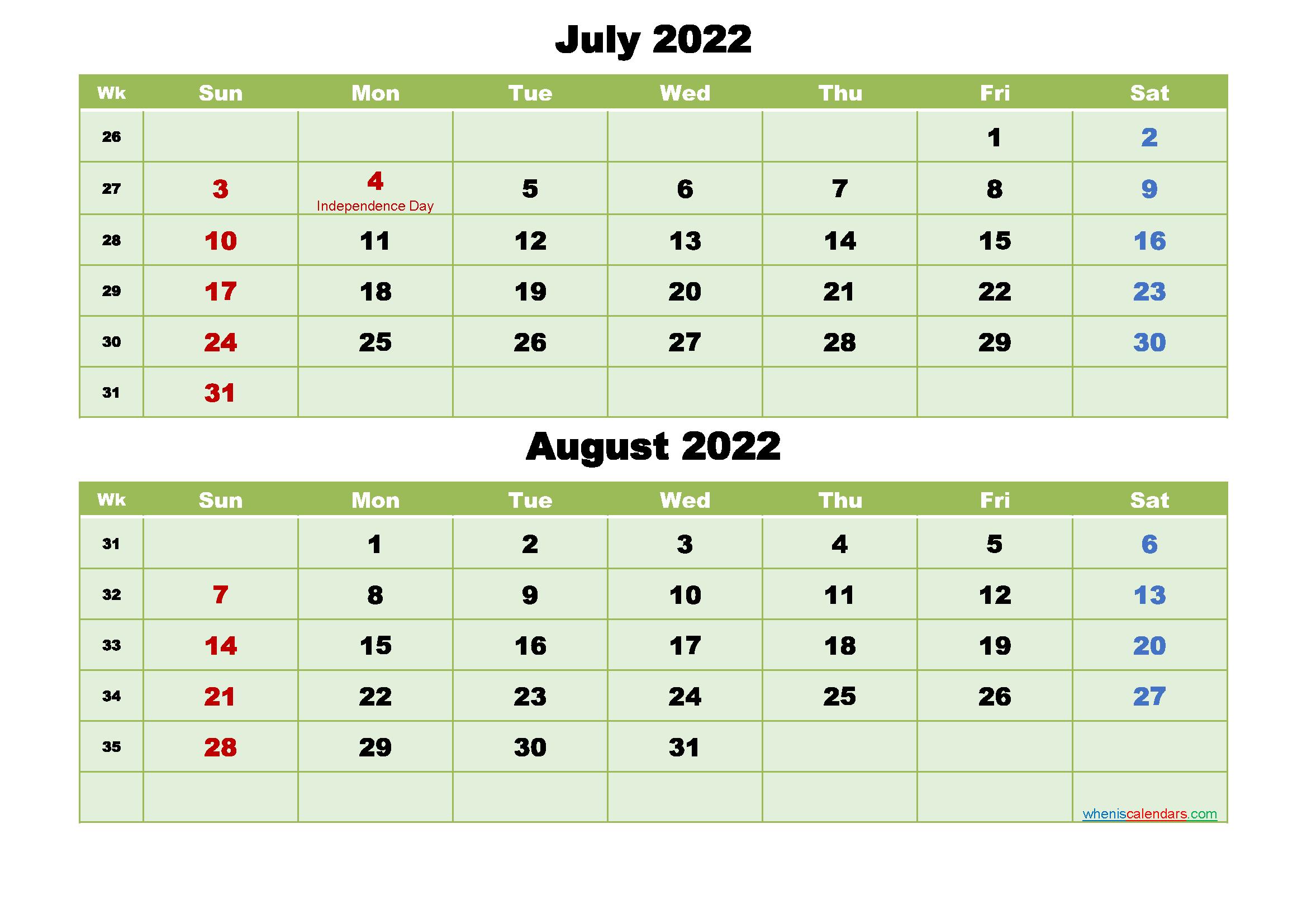 Printable Calendar July and August 2022 Word, PDF