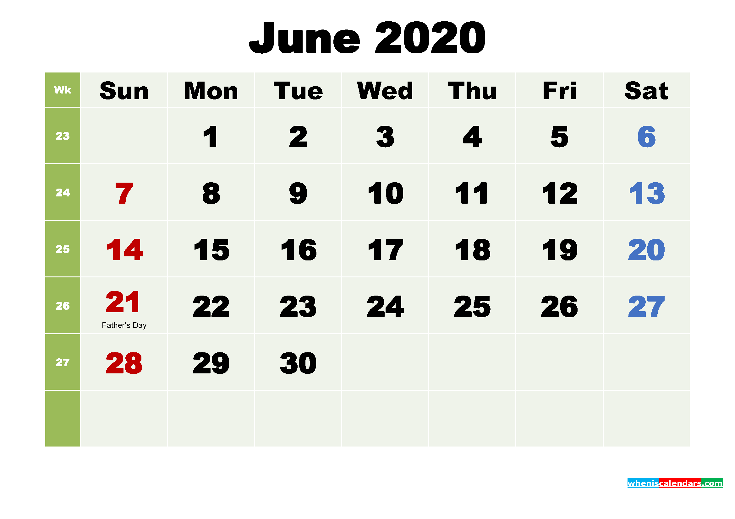 Printable Calendar June 2020 with Holidays as Word, PDF
