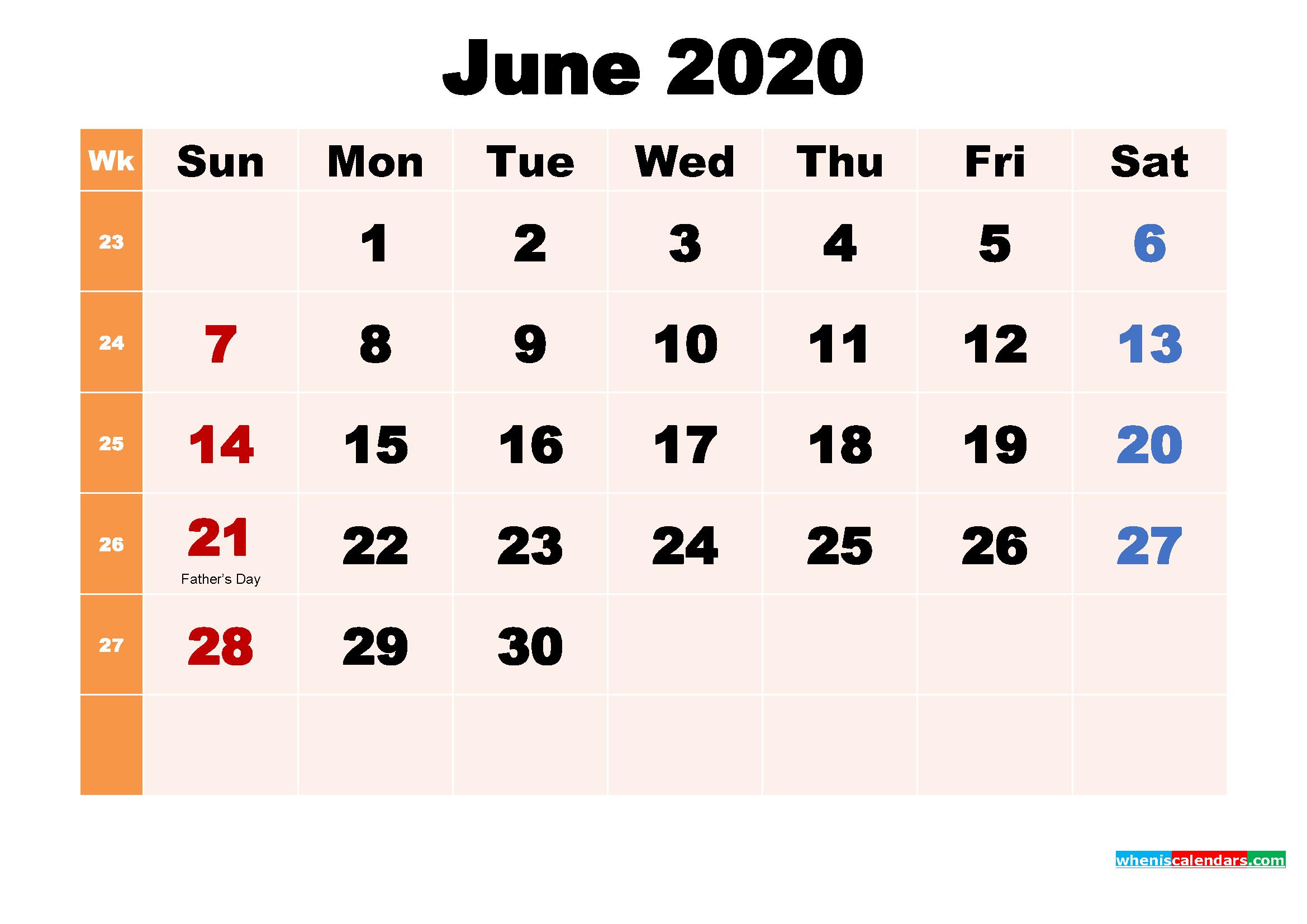 June 2020 Desktop Calendar with Holidays