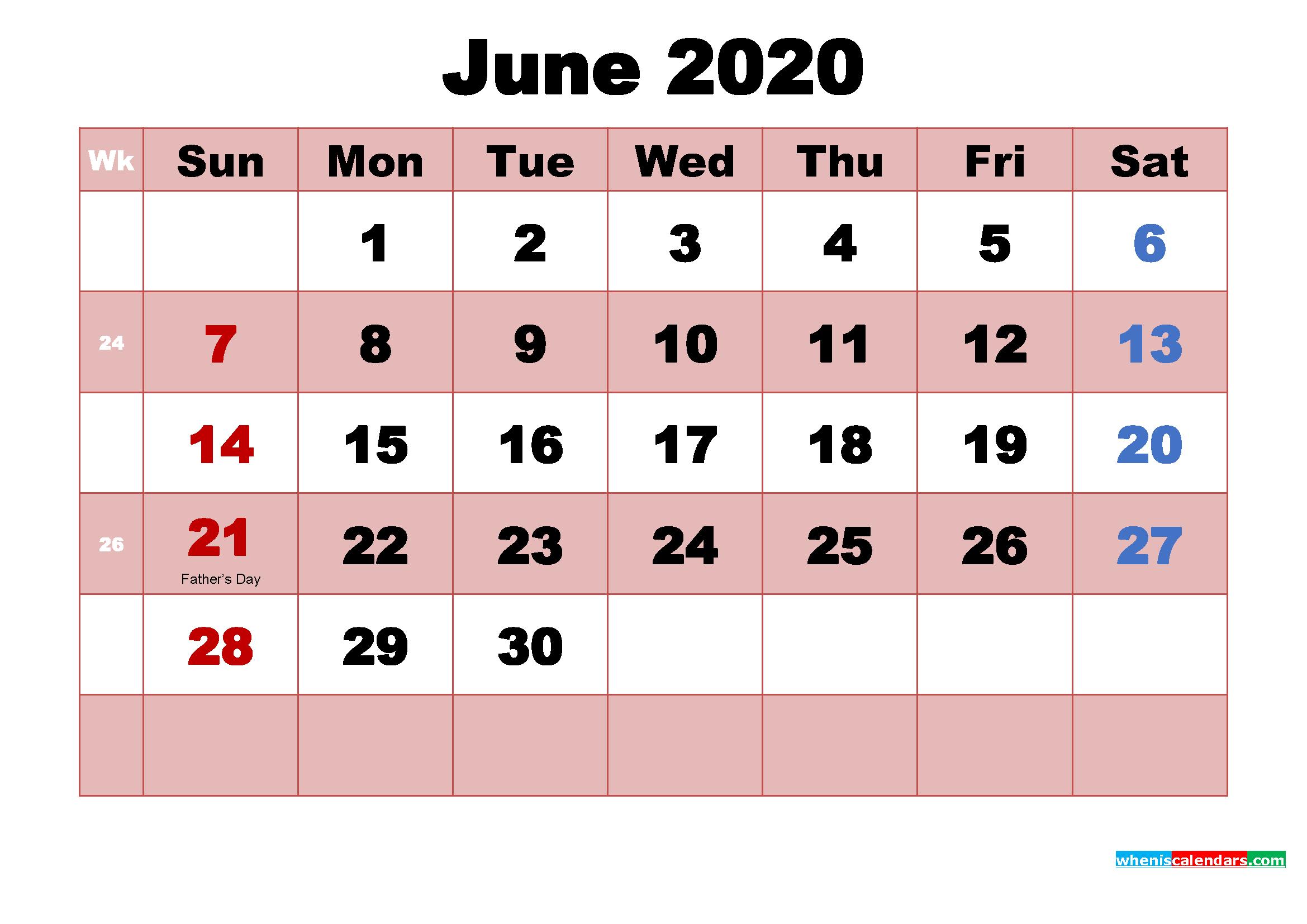 June 2020 Calendar with Holidays Wallpaper