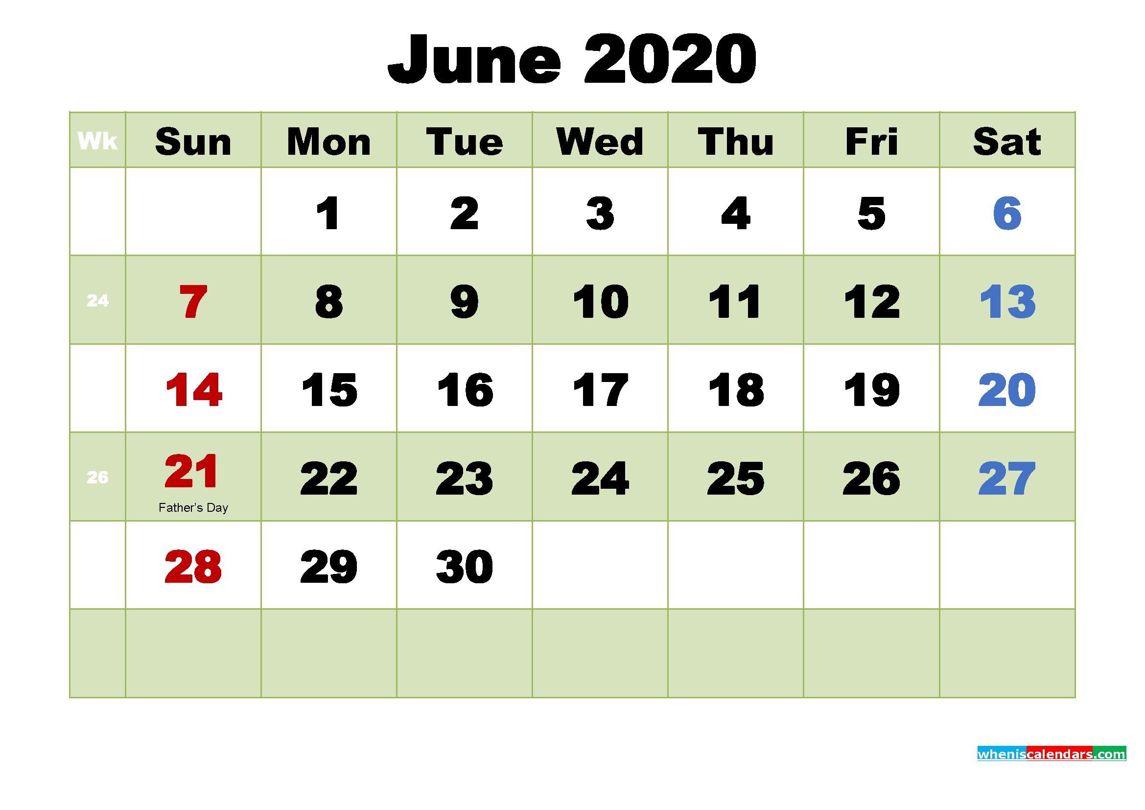 Printable 2020 Calendar by Month June