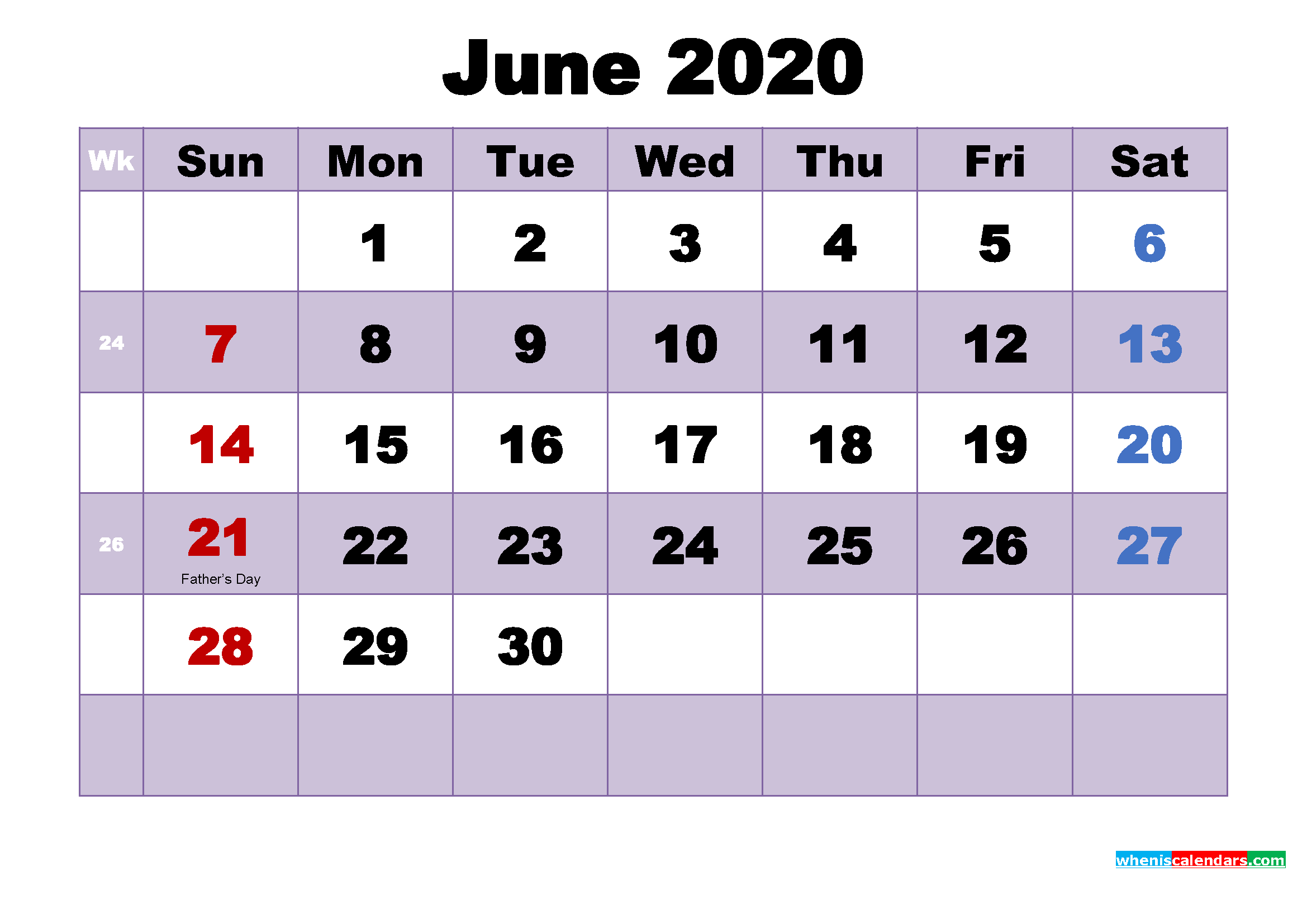 Free Printable June 2020 Calendar Word