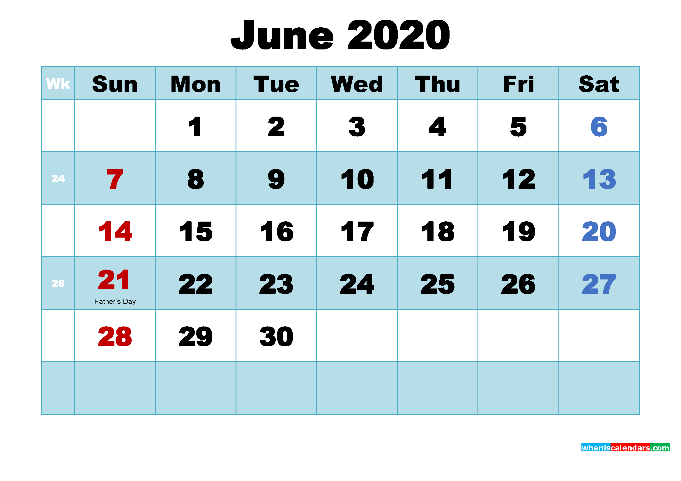 Free Printable June 2020 Calendar with Holidays as Word, PDF