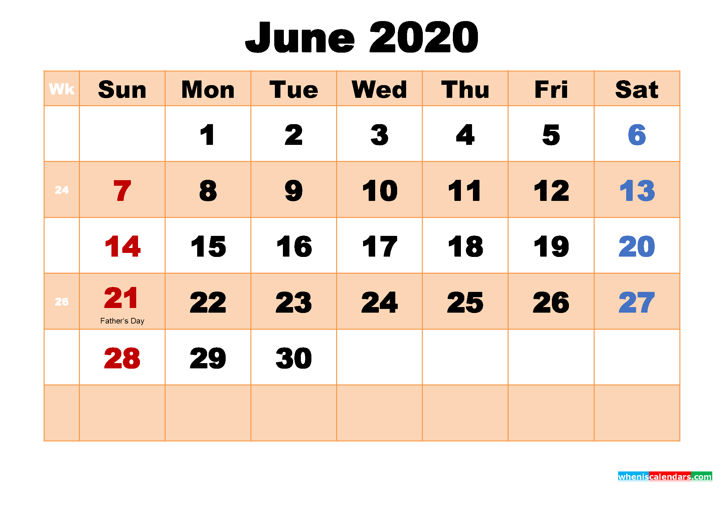 Free Printable 2020 Monthly Calendar with Holidays June