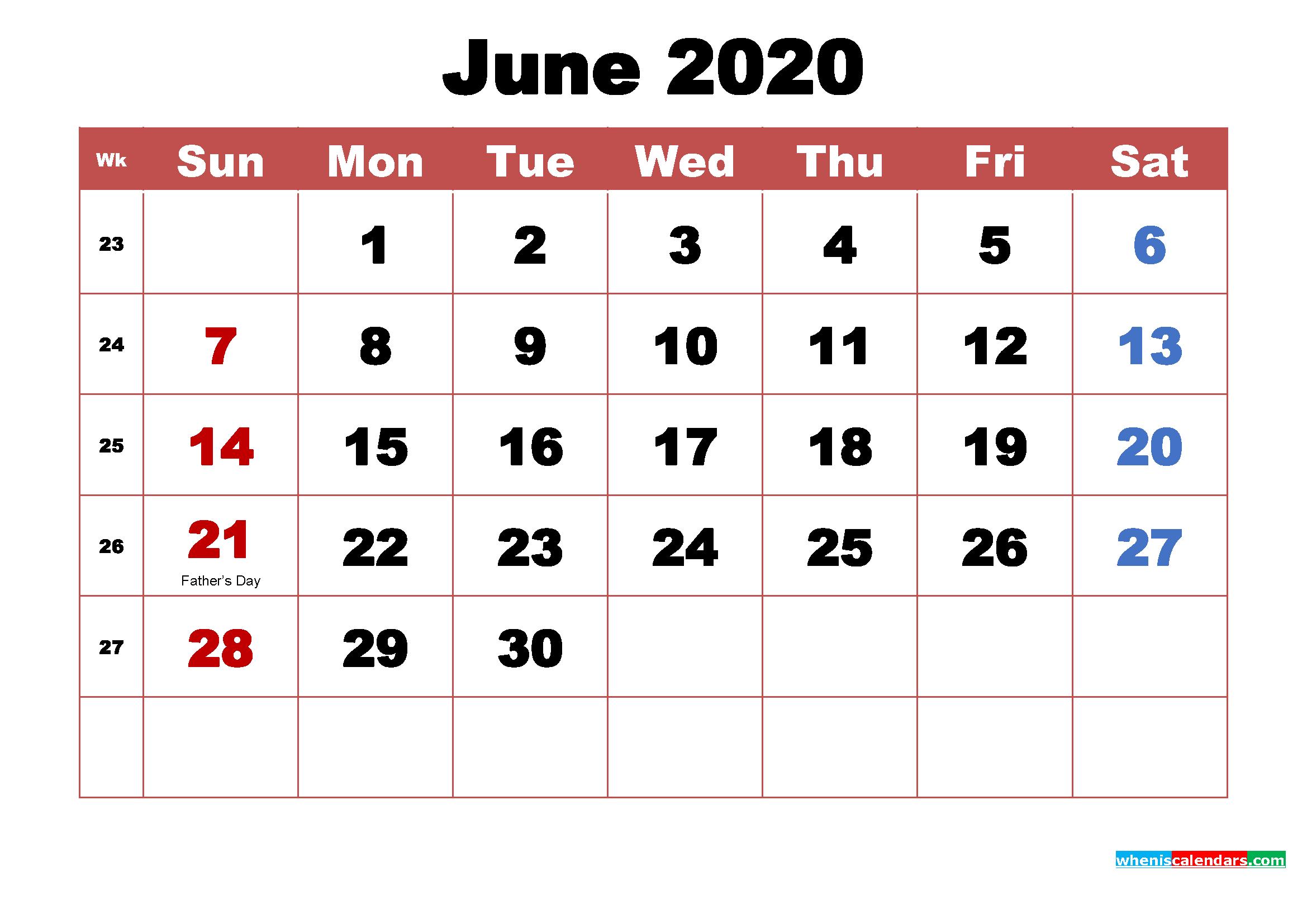 June 2020 Calendar Wallpaper High Resolution