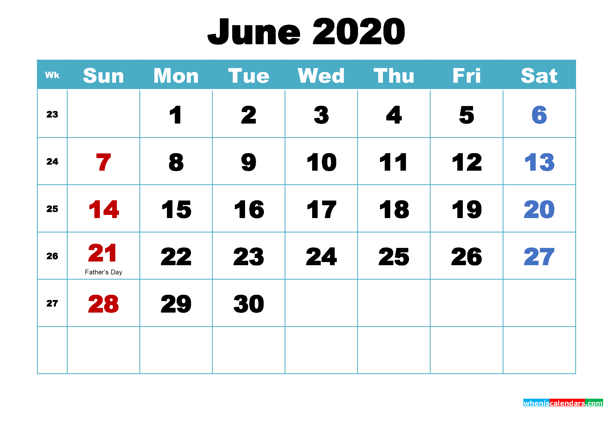Printable June 2020 Calendar Word