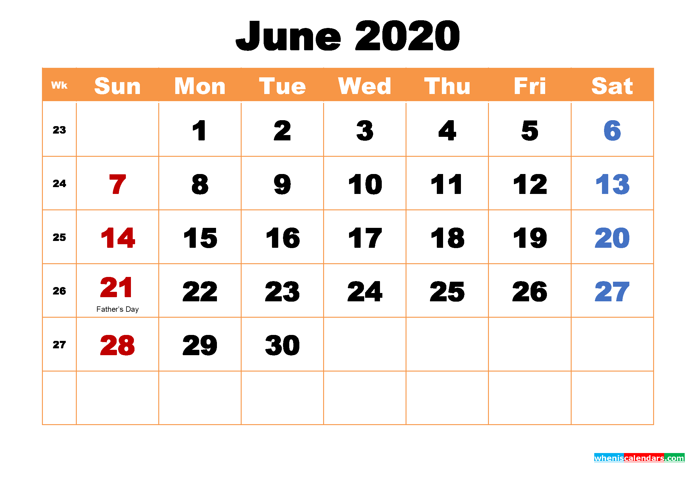 June 2020 Desktop Calendar Free Download