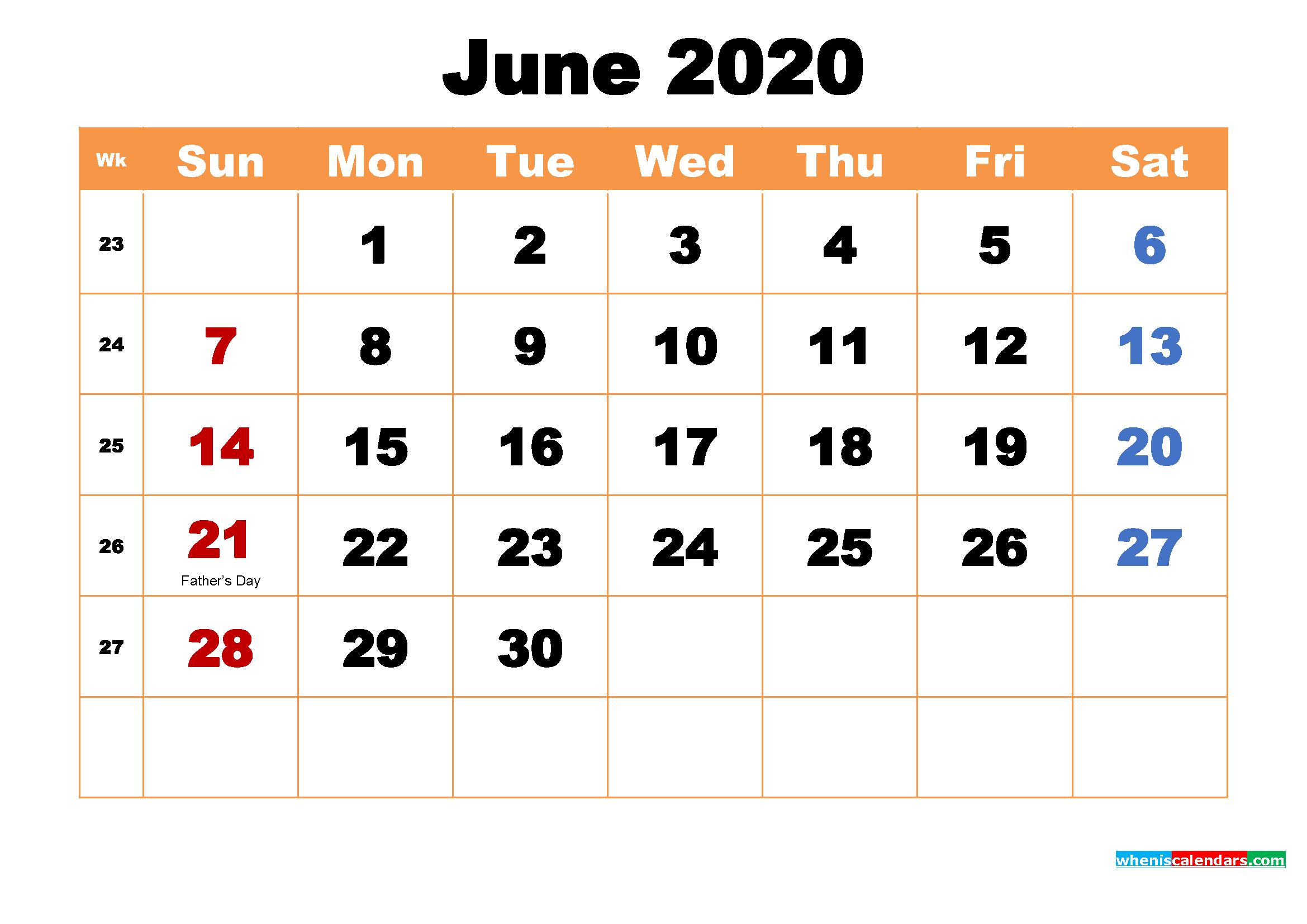 Printable Calendar for June 2020