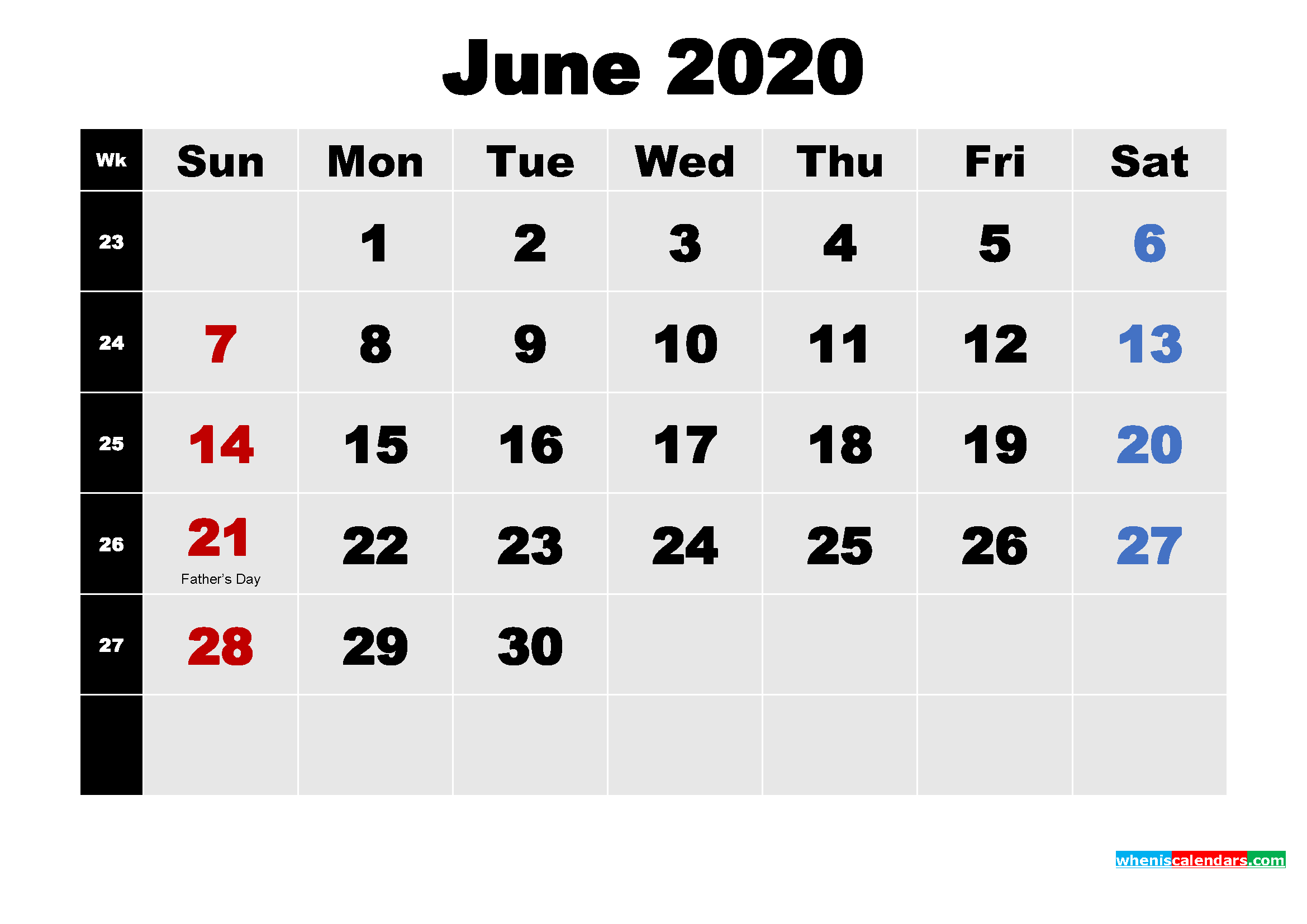 Printable 2020 Calendar with Holidays June