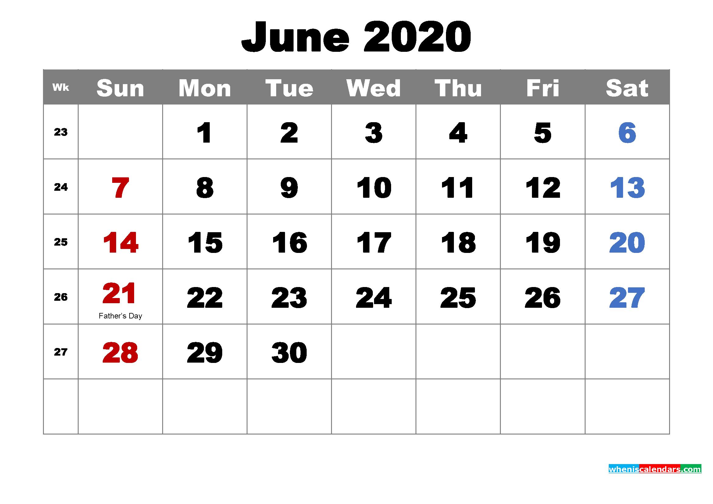 Printable June 2020 Calendar by Month