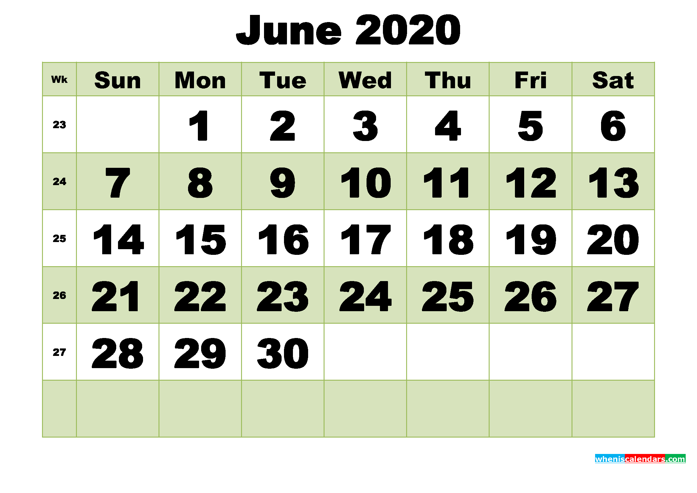 June 2020 Printable Calendar Template