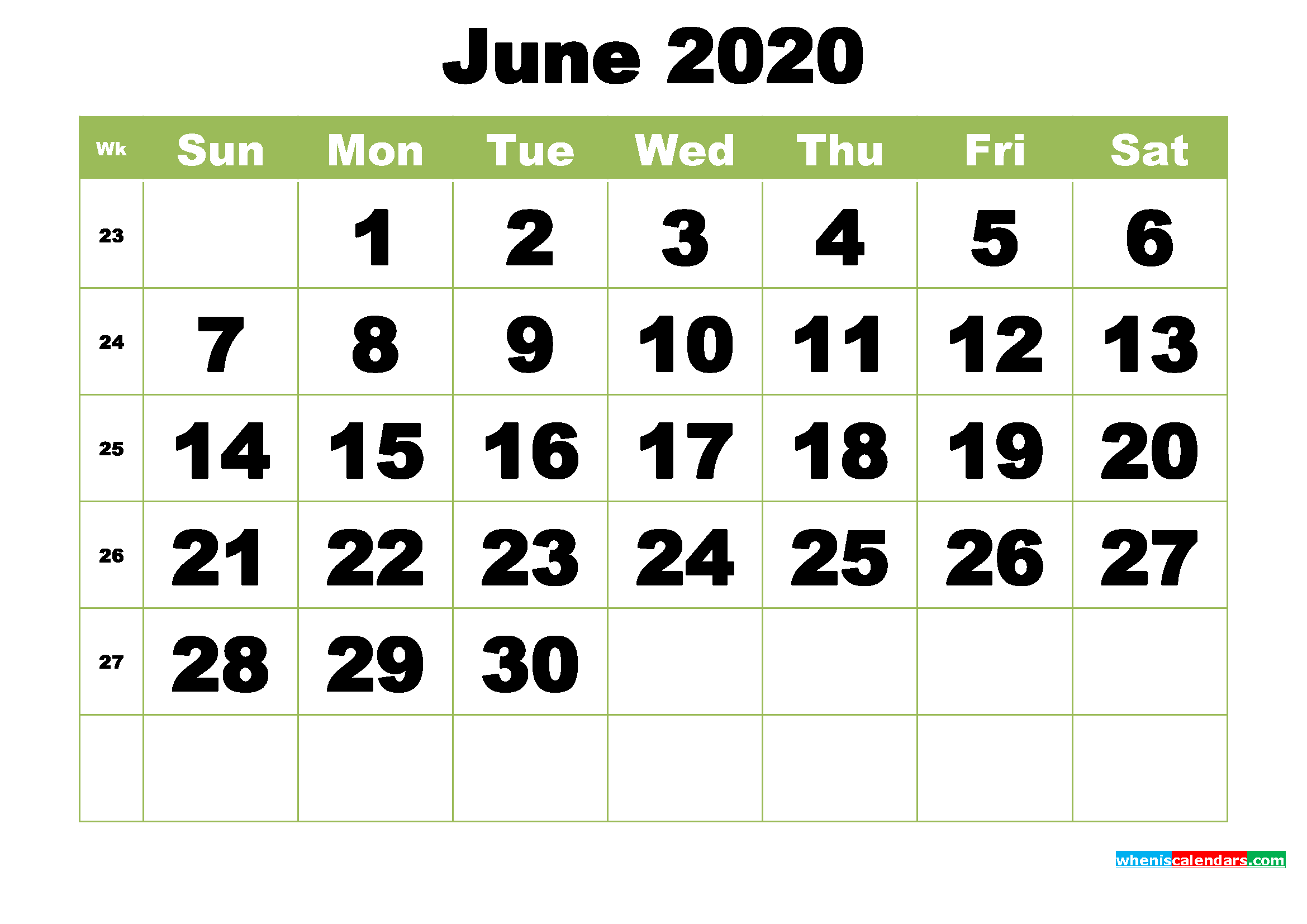 Free Printable Monthly Calendar June 2020