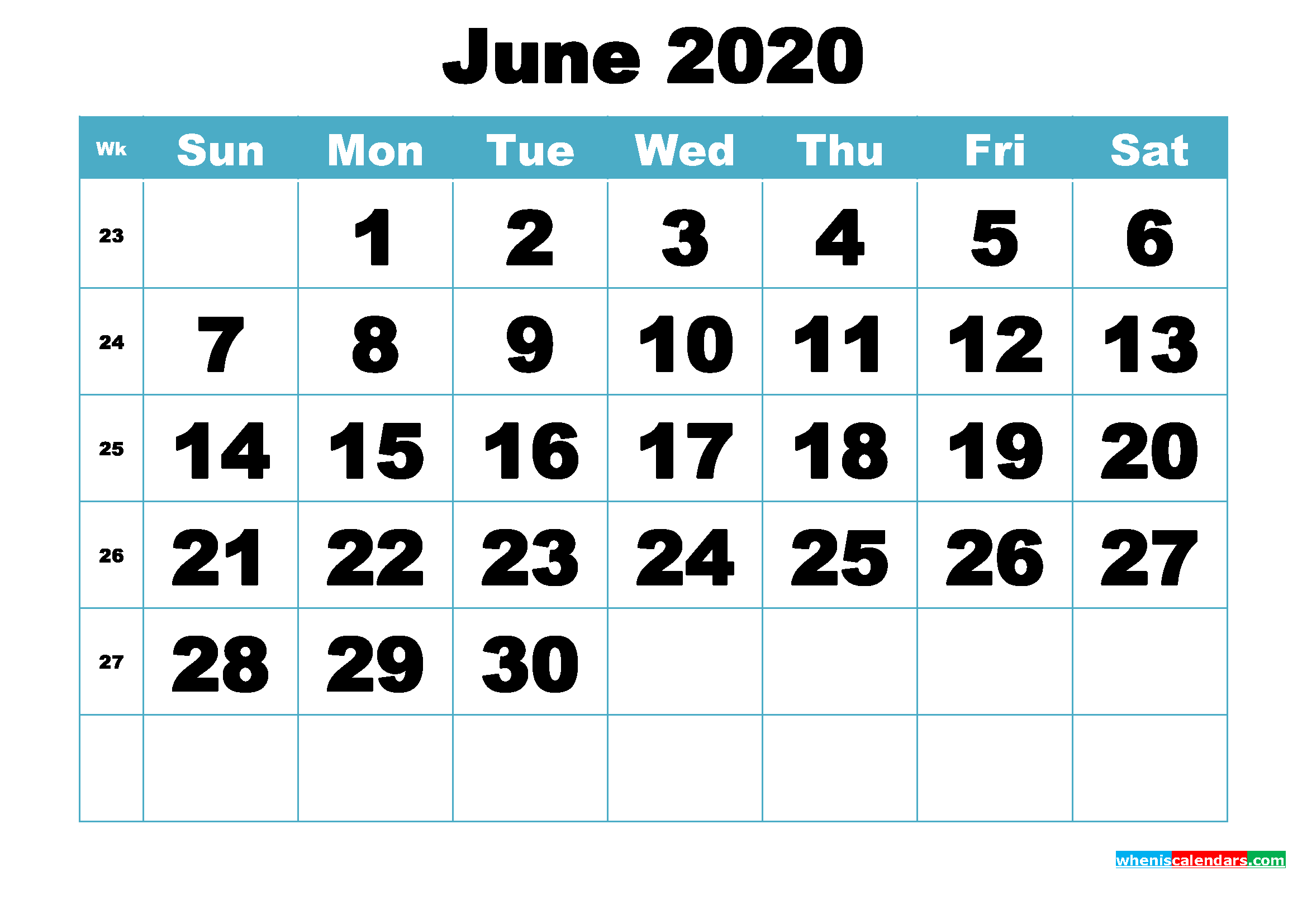 Free June 2020 Printable Monthly Calendar Template