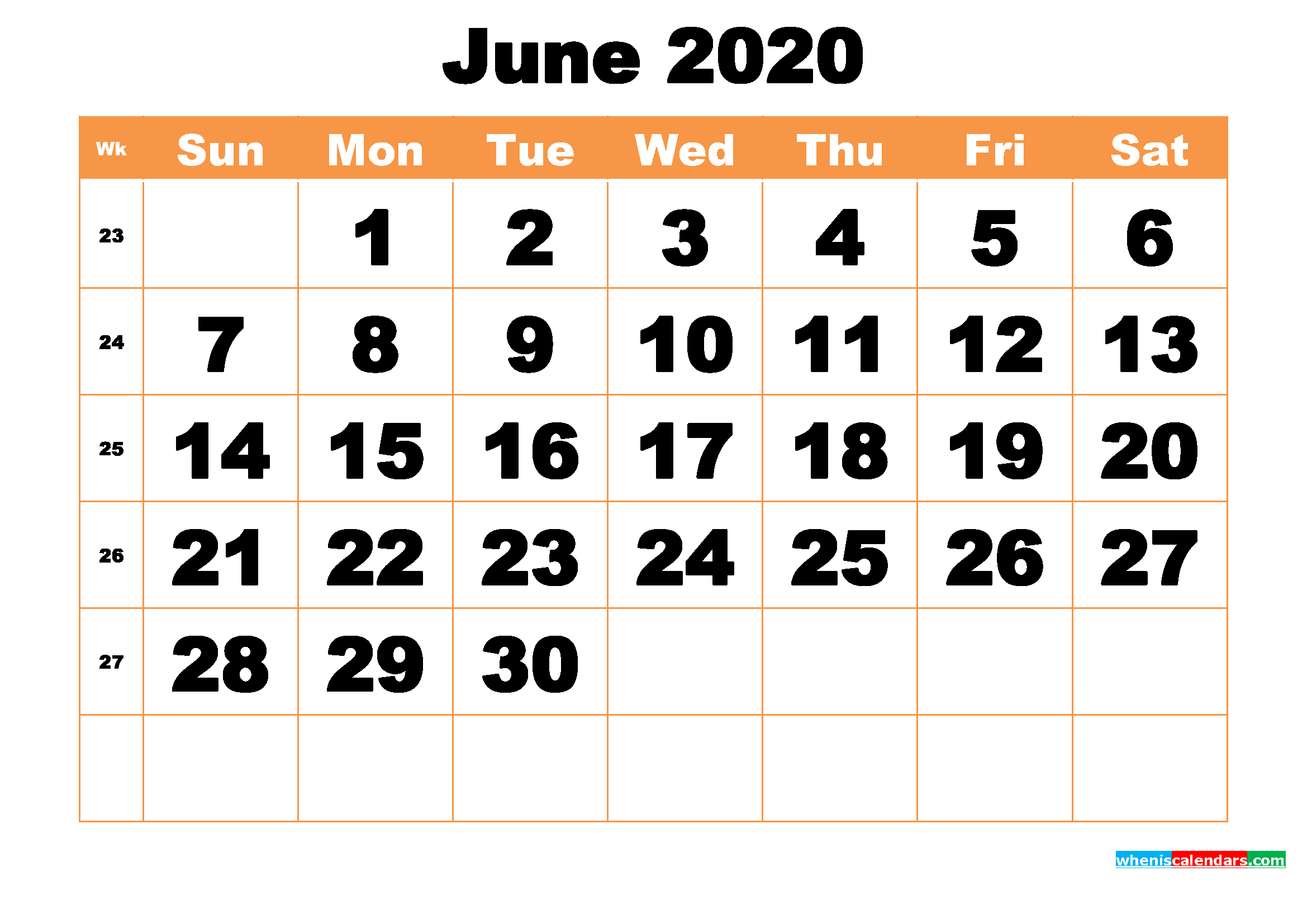 Free Printable June 2020 Calendar Word, PDF, Image