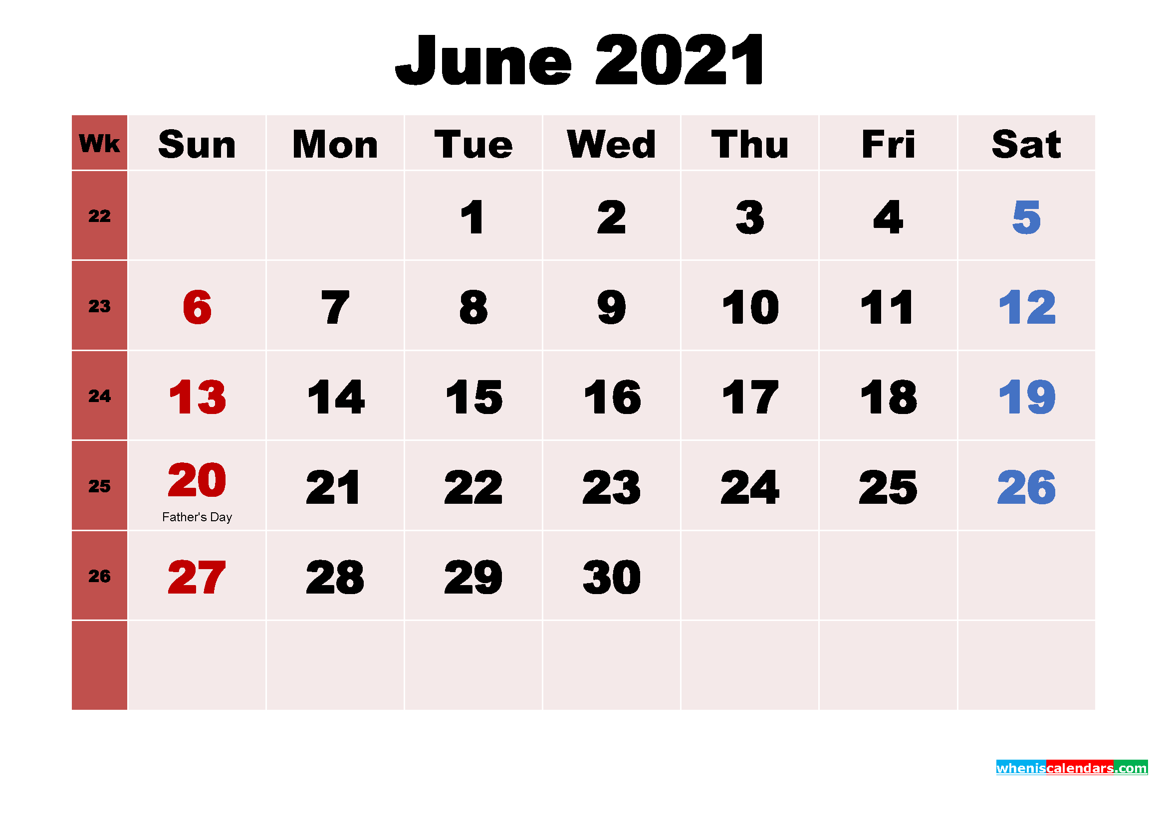 June 2021 Desktop Calendar Monthly