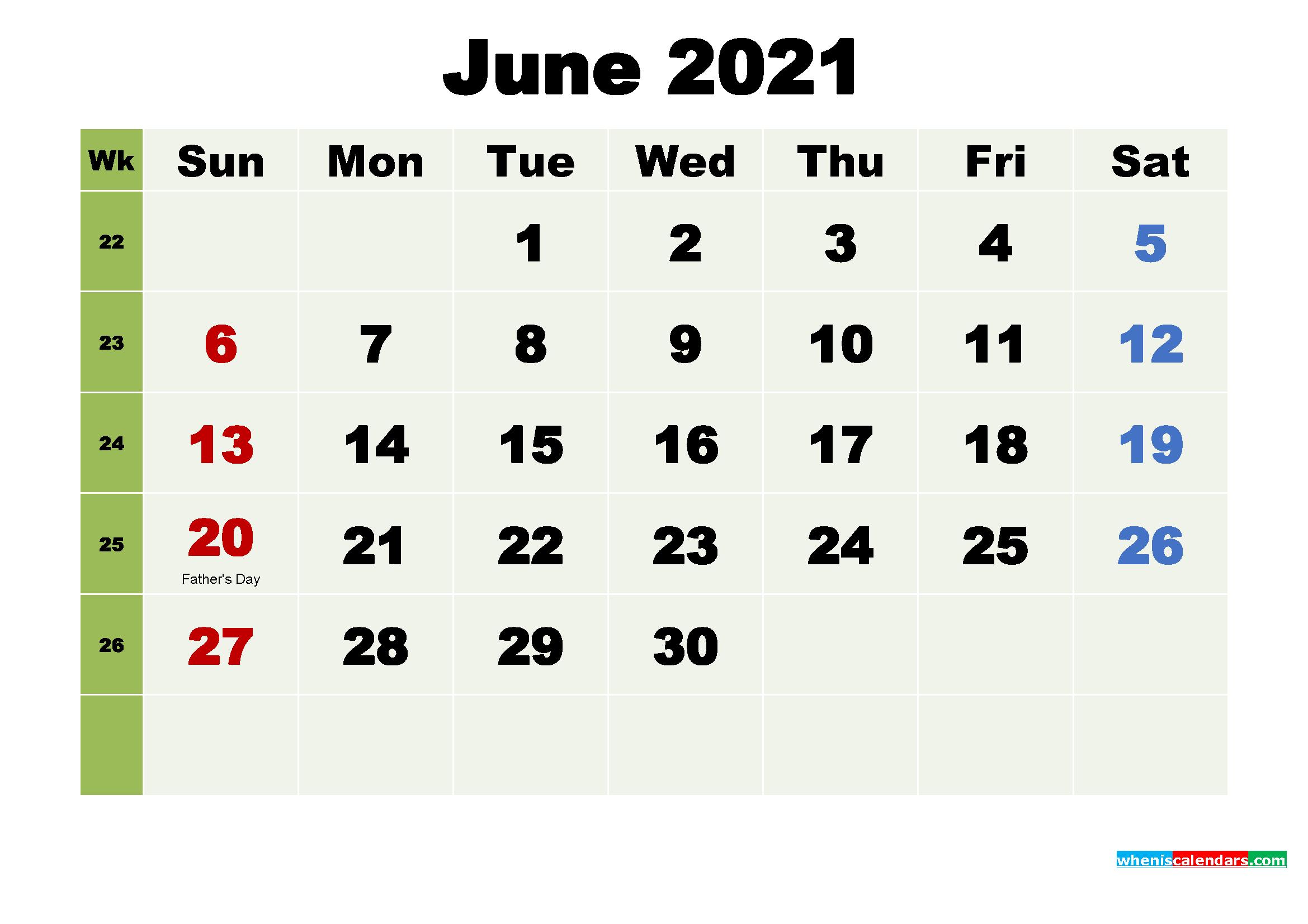 Printable Calendar June 2021 with Holidays as Word, PDF
