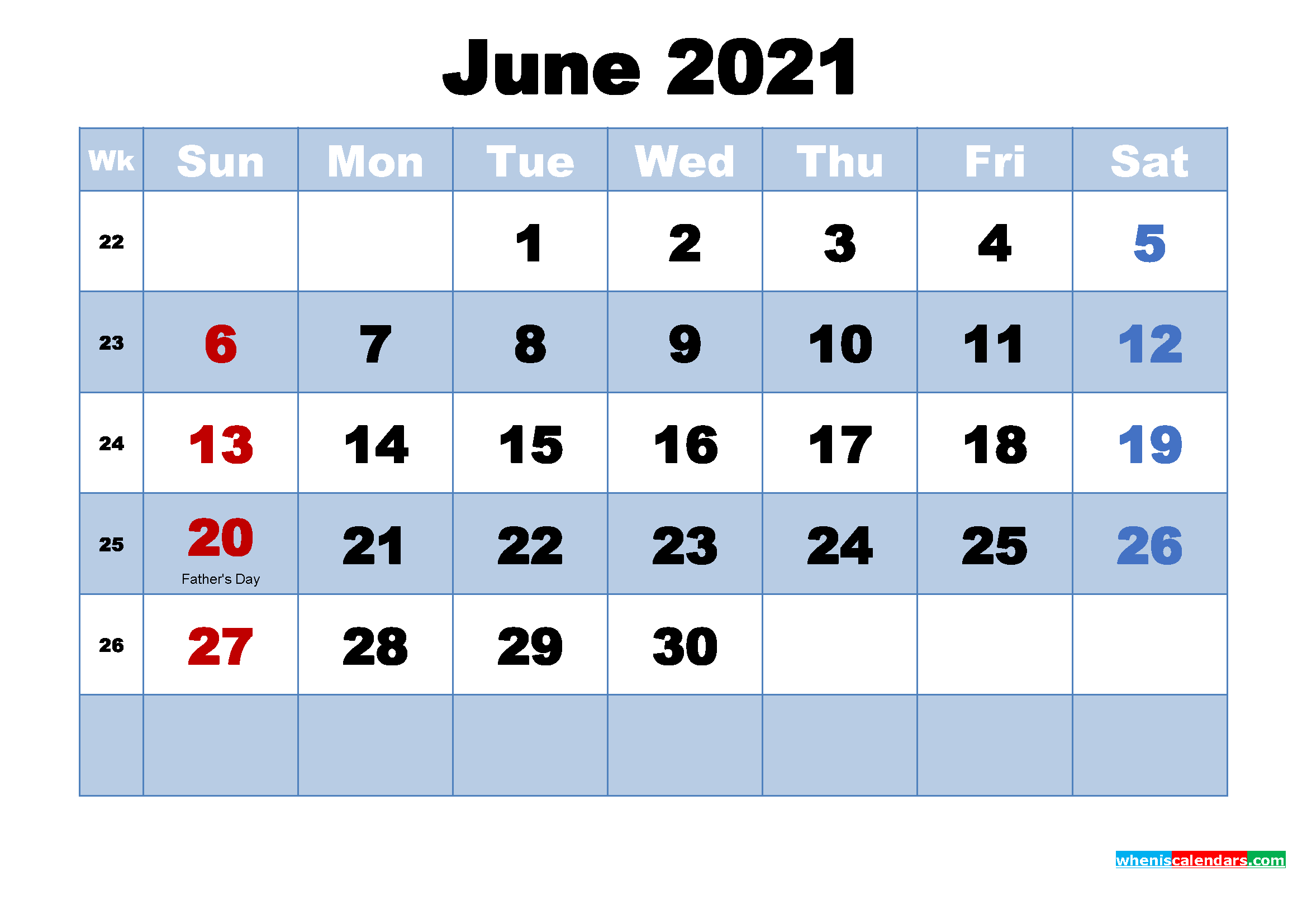 Free Printable 2021 Monthly Calendar with Holidays June