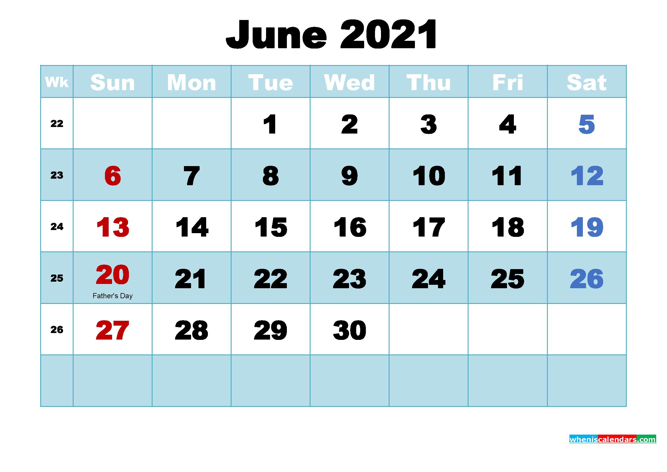Free Printable 2021 Calendar with Holidays June