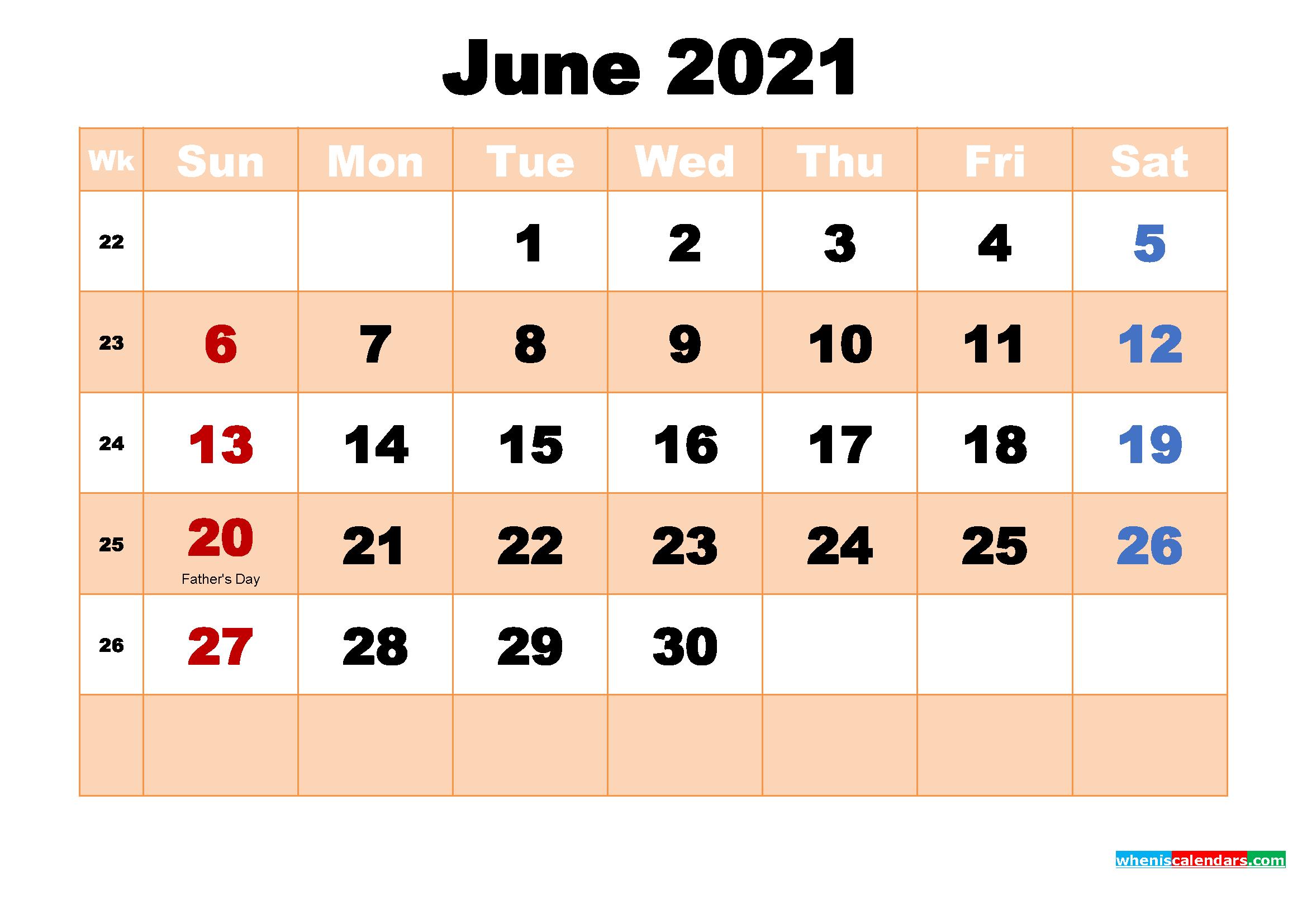 June 2021 Calendar with Holidays Wallpaper