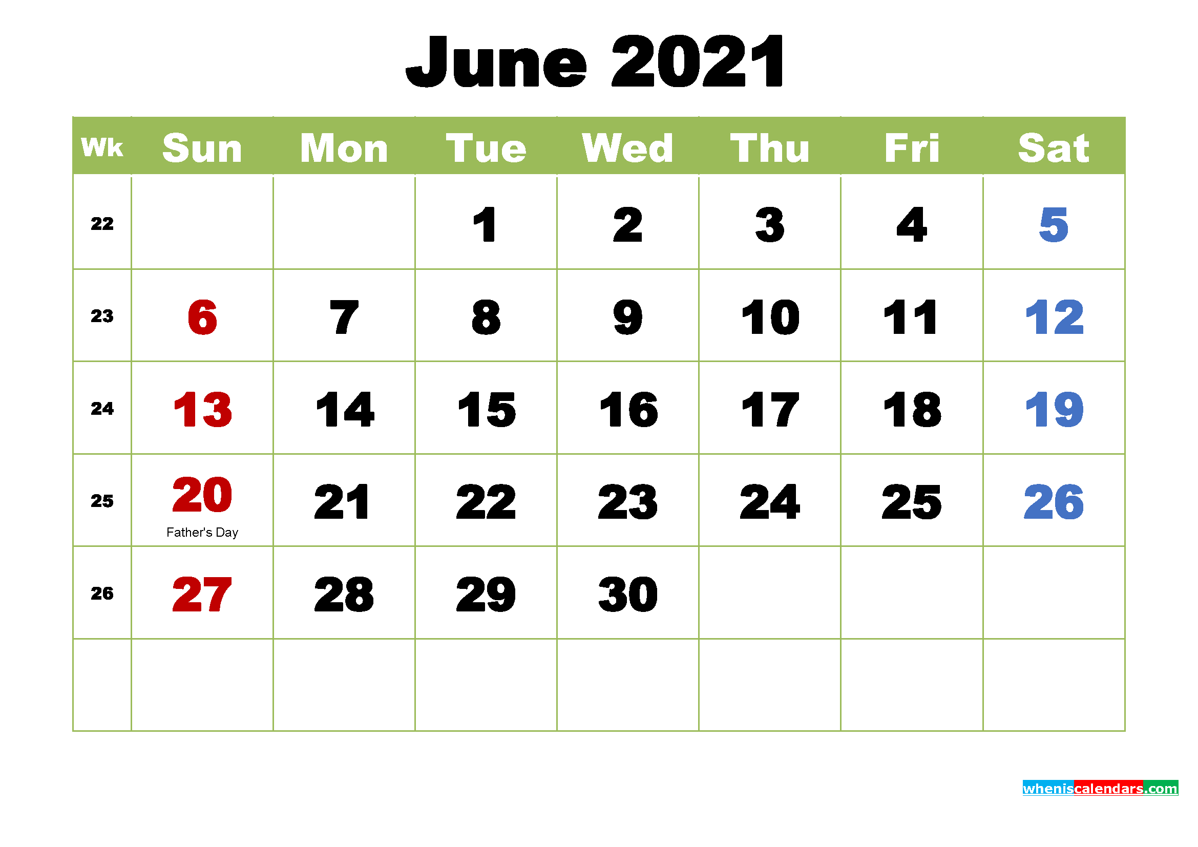 Free Printable 2021 Calendar with Holidays June
