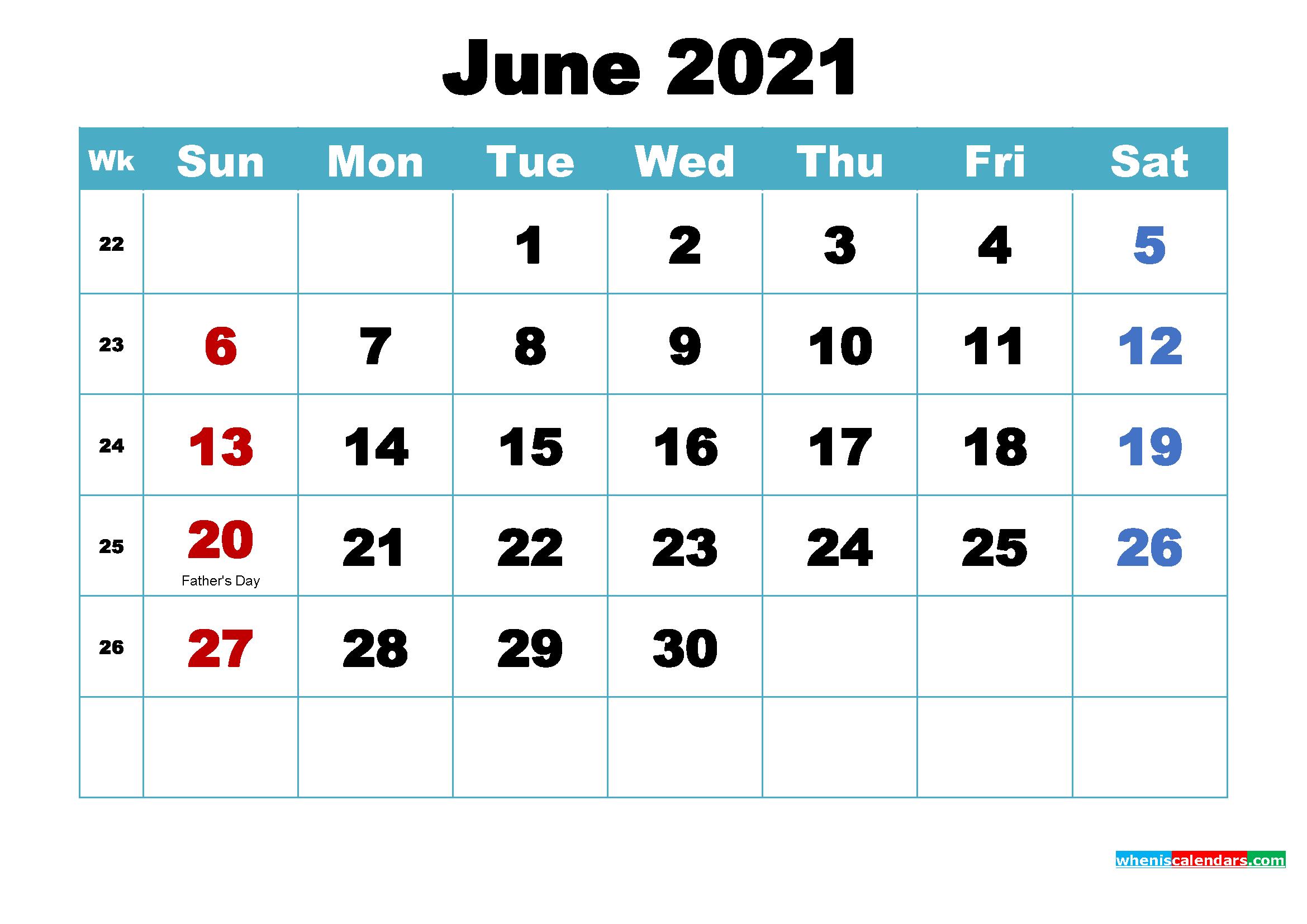 June 2021 Calendar Wallpaper Free Download