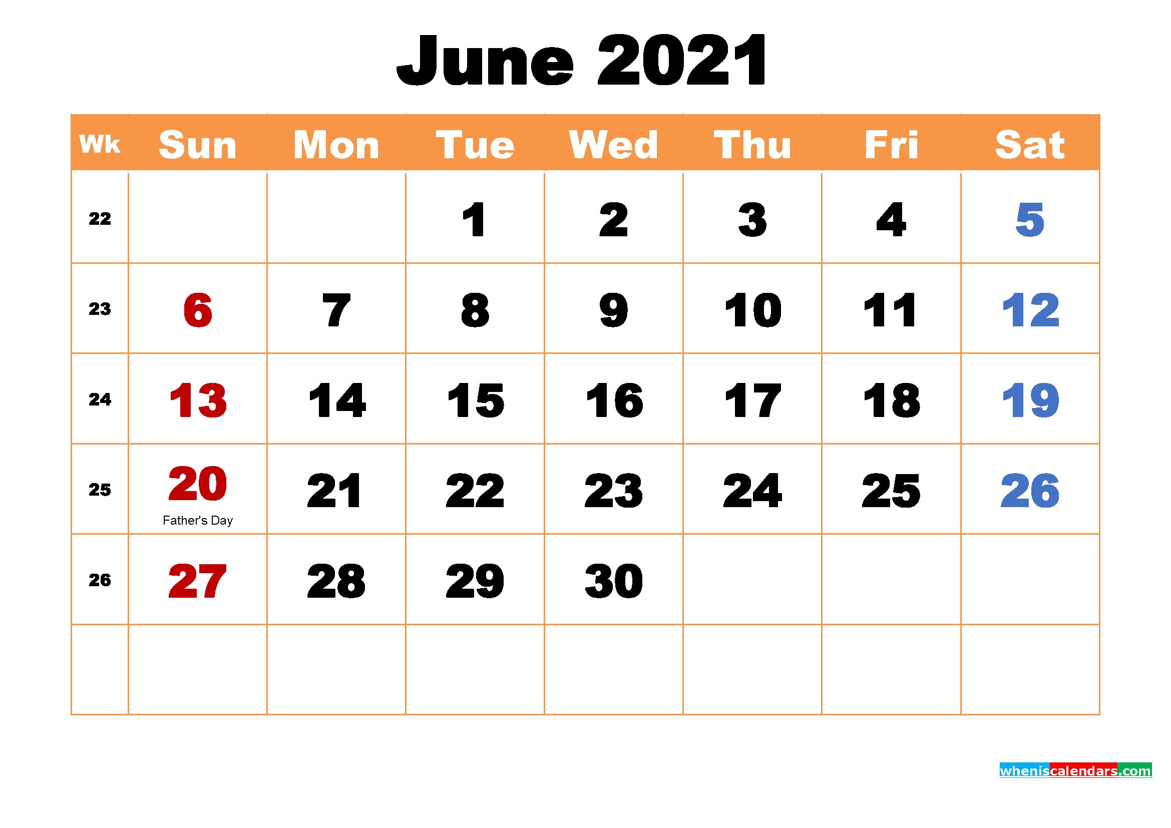 June 2021 Desktop Calendar Free Download