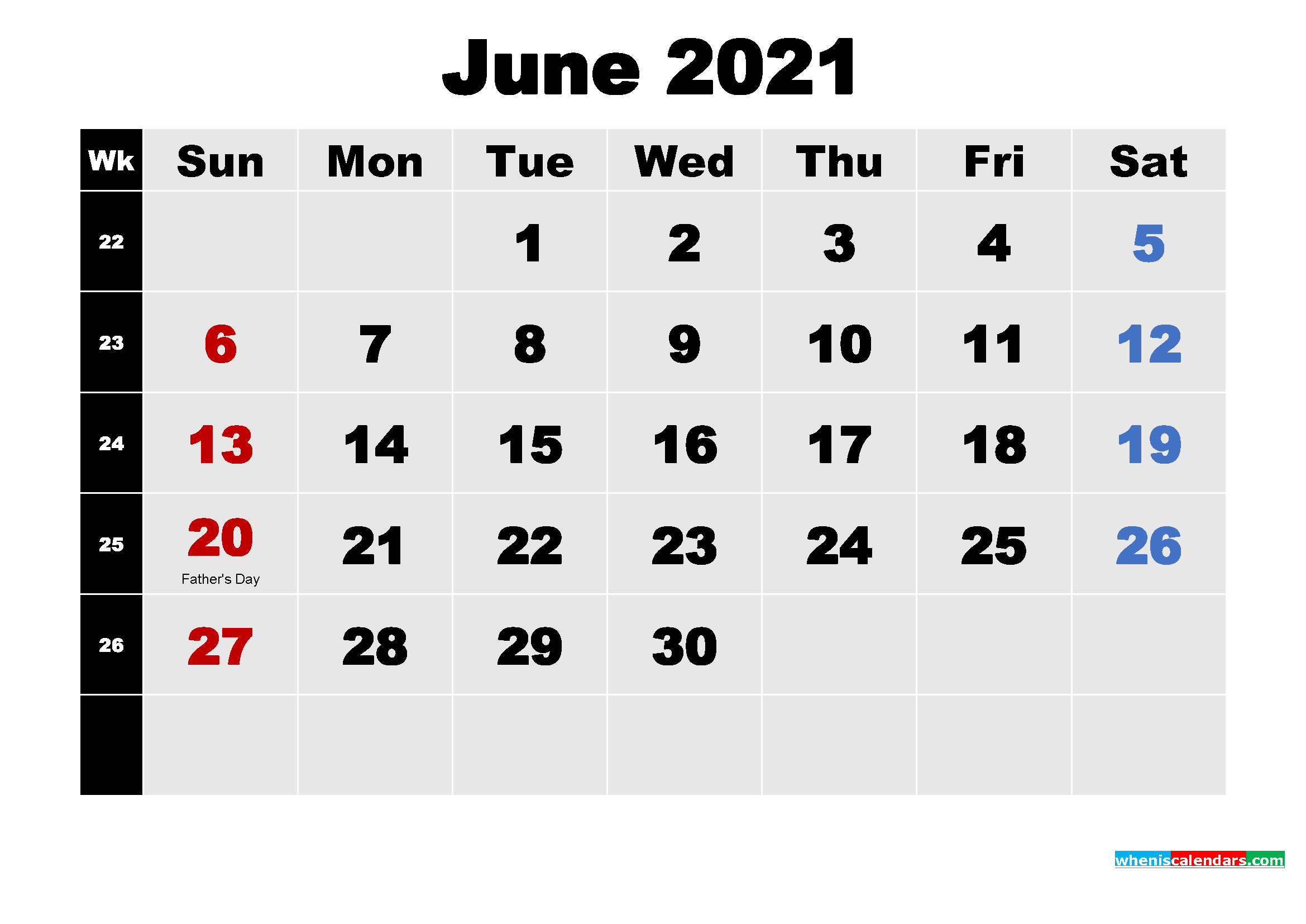 Printable 2021 Calendar with Holidays June