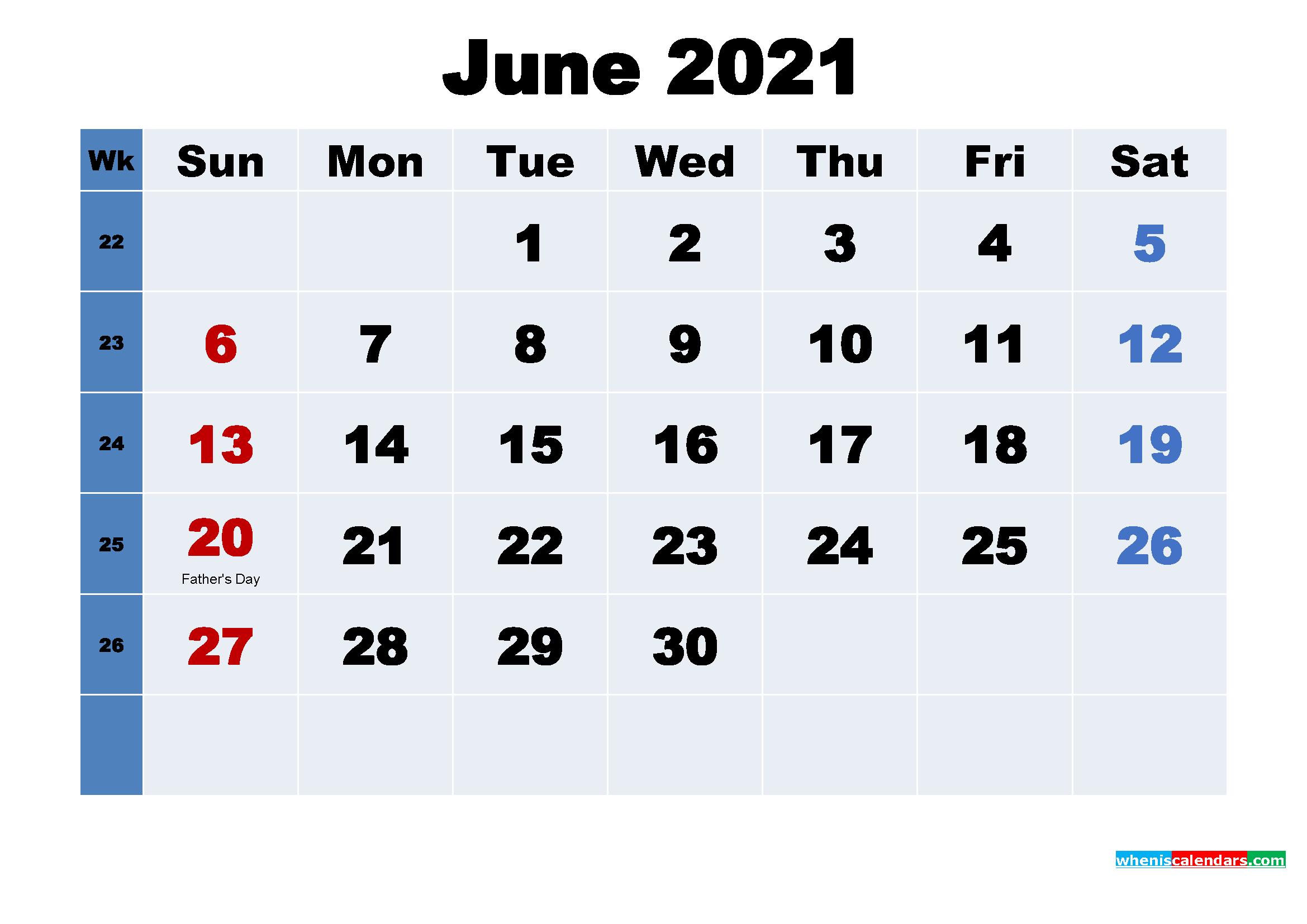 June 2021 Desktop Calendar with Holidays