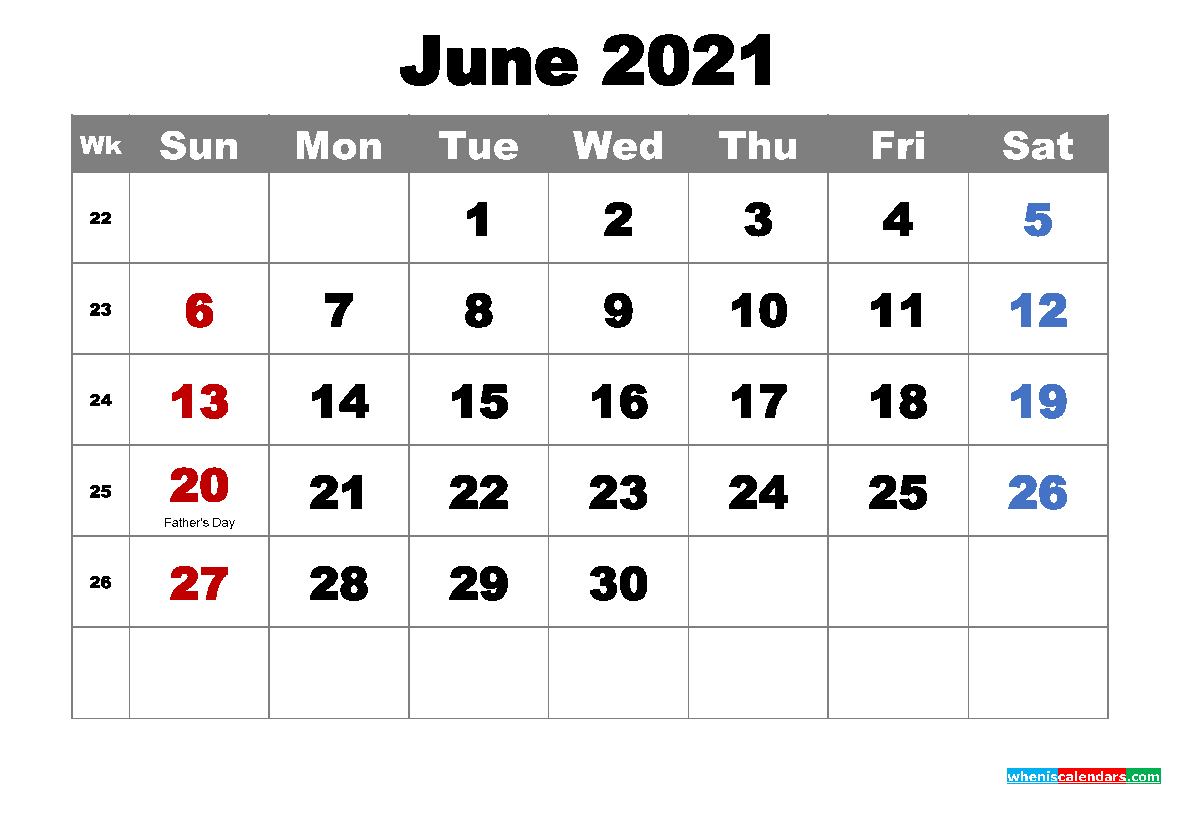 Free Printable June 2021 Calendar with Holidays as Word ...
