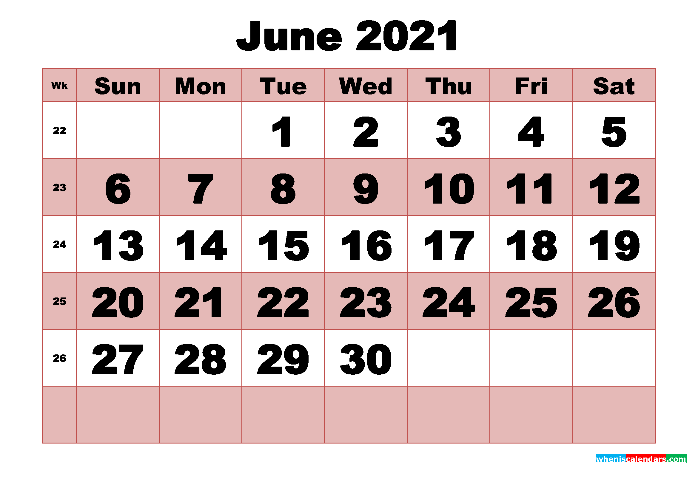 Free Printable Monthly Calendar June 2021